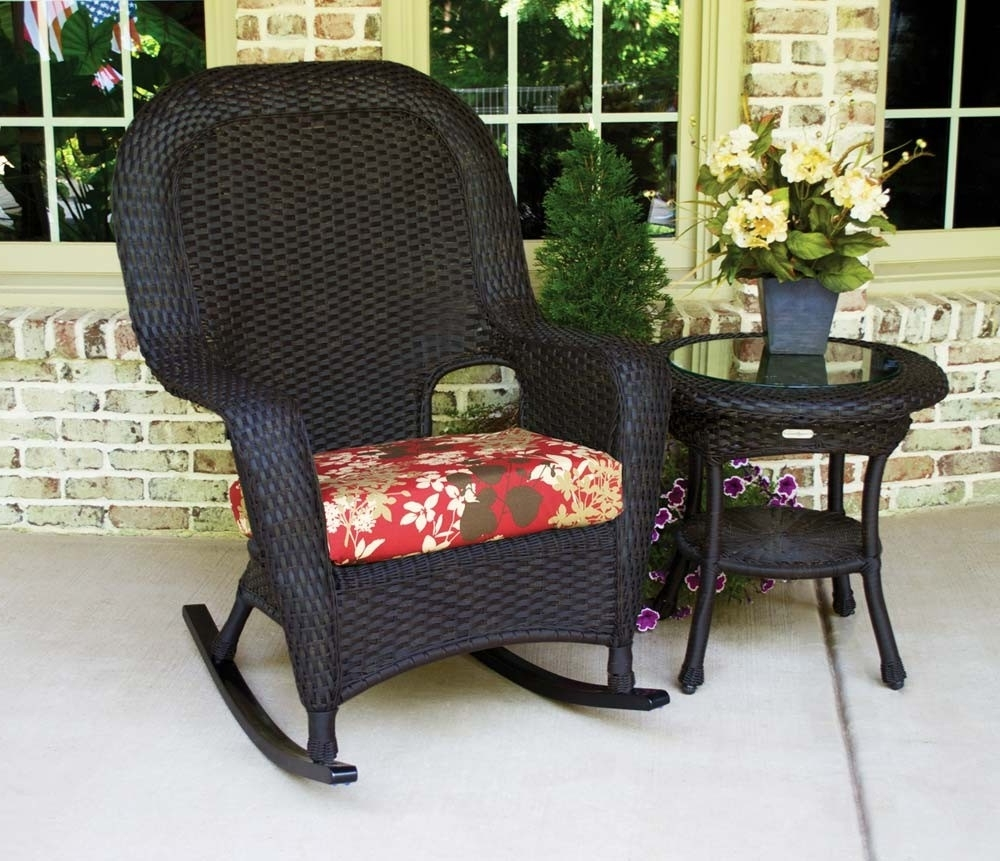 Black Patio Rocking Chairs With Regard To Current Tortuga Outdoor Lexington Wicker 2 Piece Rocker And Side Table Set (View 4 of 15)