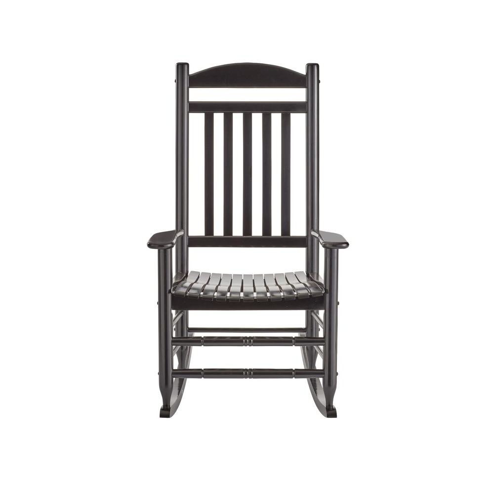 Black Rocking Chairs With Best And Newest Hampton Bay Black Wood Outdoor Rocking Chair It 130828b – The Home Depot (View 12 of 15)