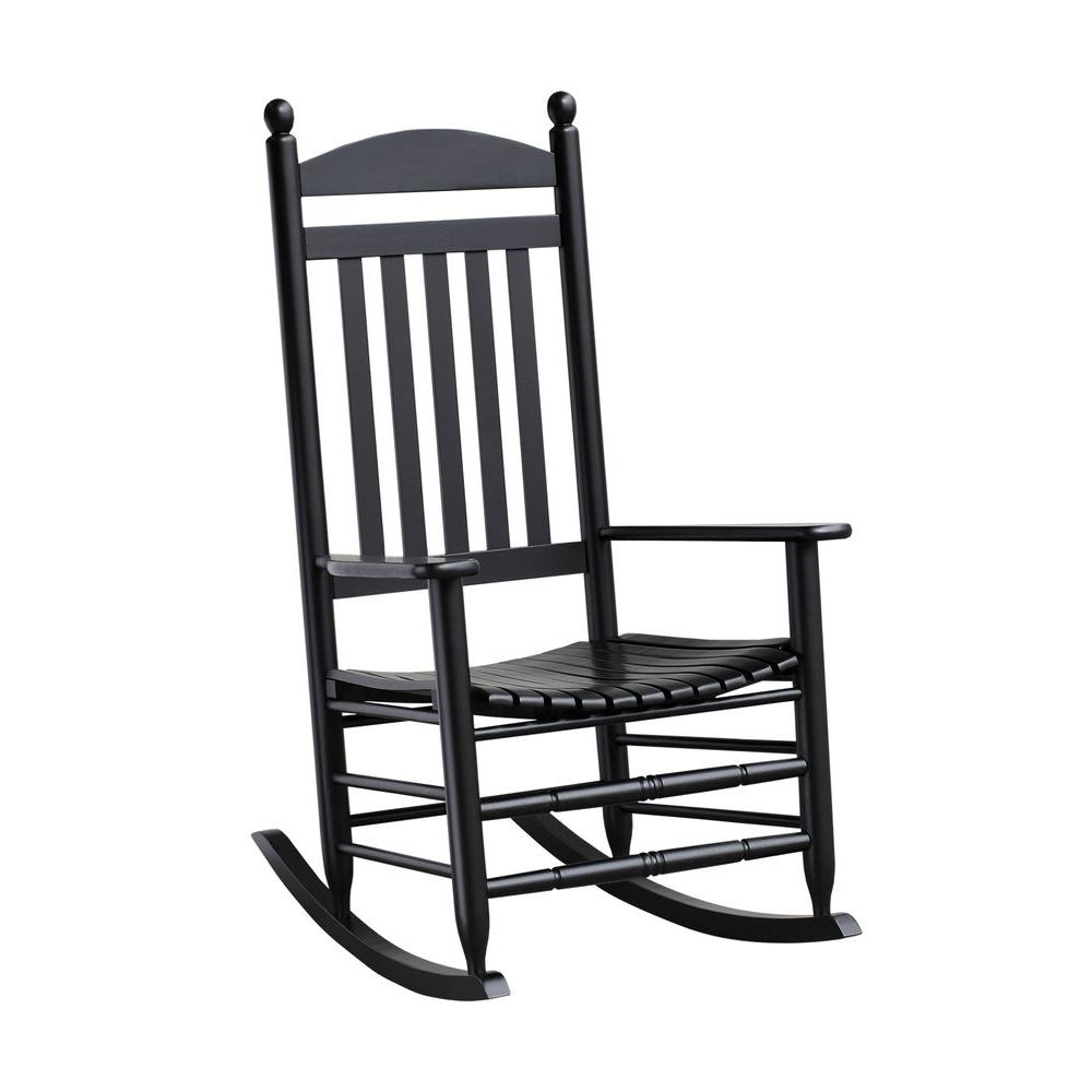 Bradley Black Slat Patio Rocking Chair 200Sbf Rta – The Home Depot Pertaining To Well Known Rocking Chairs For Porch (View 2 of 15)
