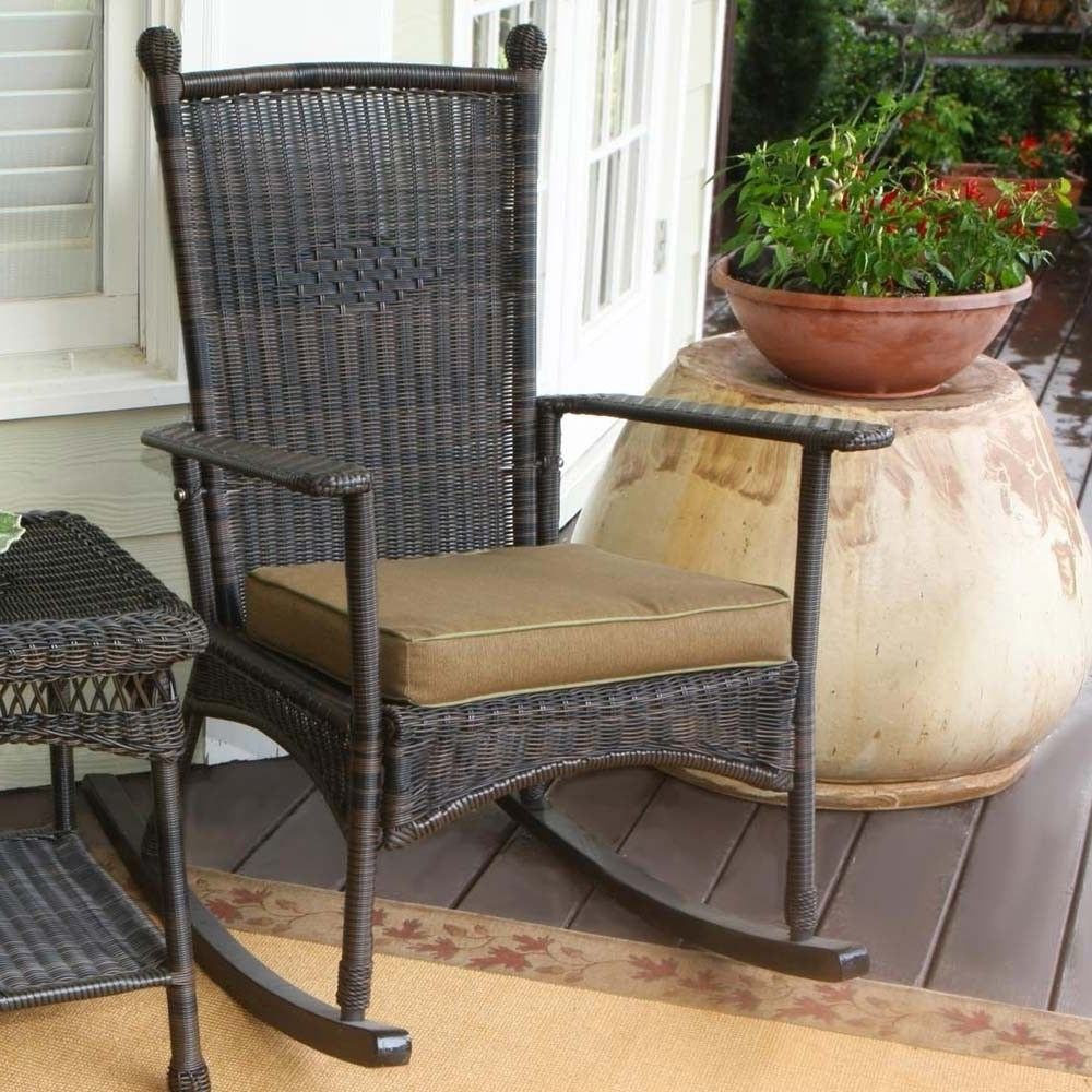 Brown Wicker Patio Rocking Chairs Pertaining To Preferred Outdoor Patio Rocking Chairs (View 13 of 15)