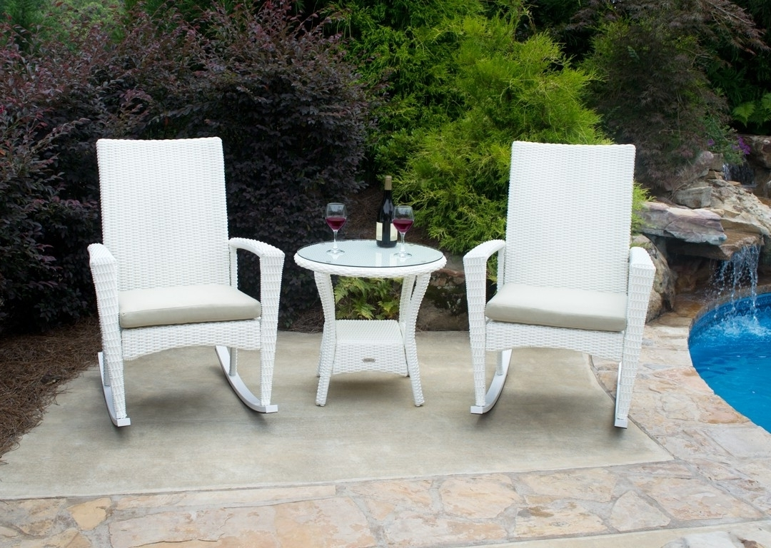 Current Bayview Rocking Chair 3 Piece Set In Magnolia White Wicker Regarding White Wicker Rocking Chairs (View 3 of 15)
