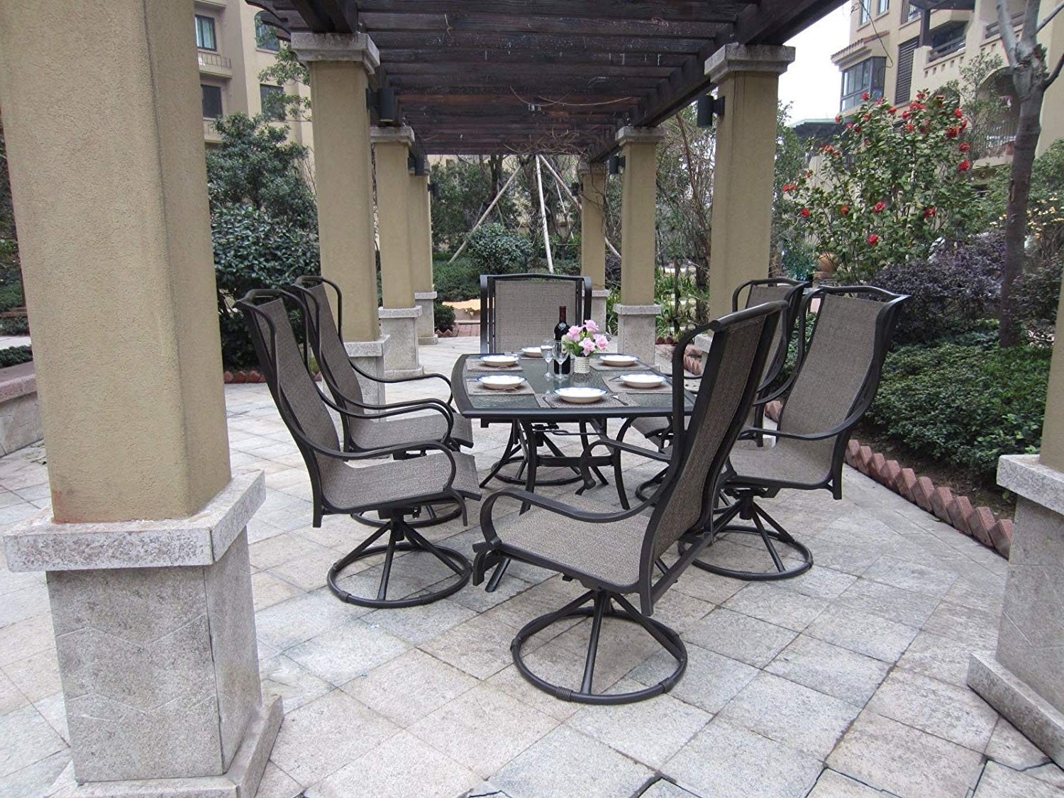 Current Beautiful Patio Set With Swivel Chairs 11 Hanover Dining Sets With Regard To Rona Patio Rocking Chairs (View 3 of 15)