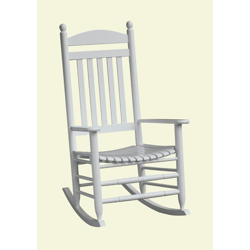 Current Bradley White Slat Patio Rocking Chair 200Sw Rta – The Home Depot Throughout Patio Rocking Chairs (View 3 of 15)