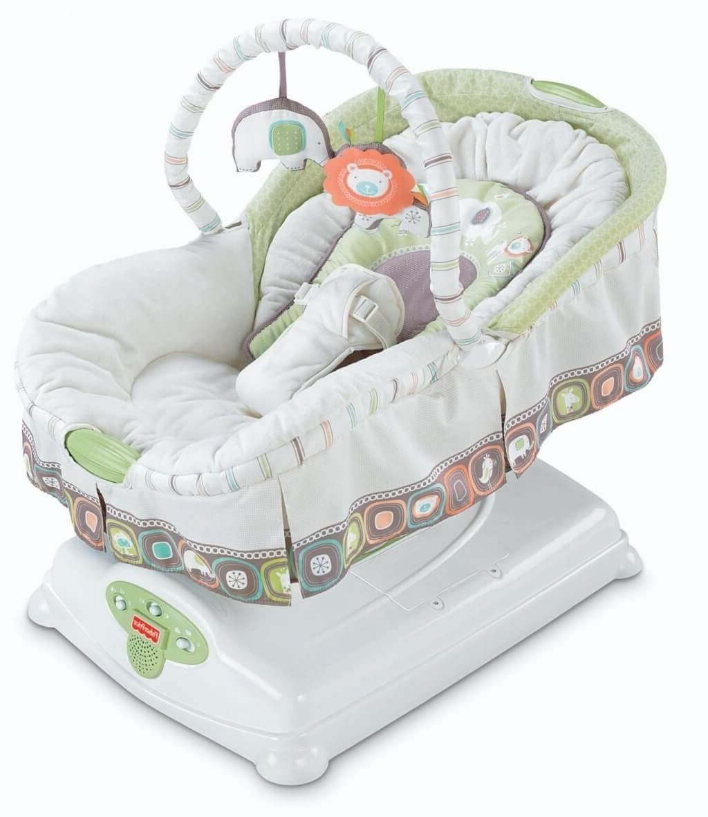 Current Rocking Chairs For Babies Within Furniture: Luxury Baby Rocking Chair With Bouncer And White Baby (View 1 of 15)