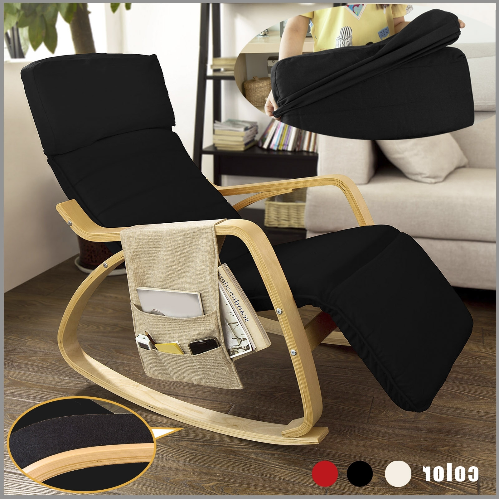 Current Rocking Chairs With Footrest With Haotiangroup: Haotian Black Comfortable Relax Rocking Chair With (View 5 of 15)