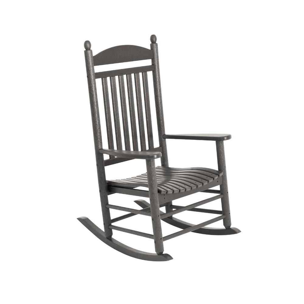 Current White Resin Patio Rocking Chairs Within Polywood Jefferson Slate Grey Patio Rocker J147Gy – The Home Depot (View 8 of 15)