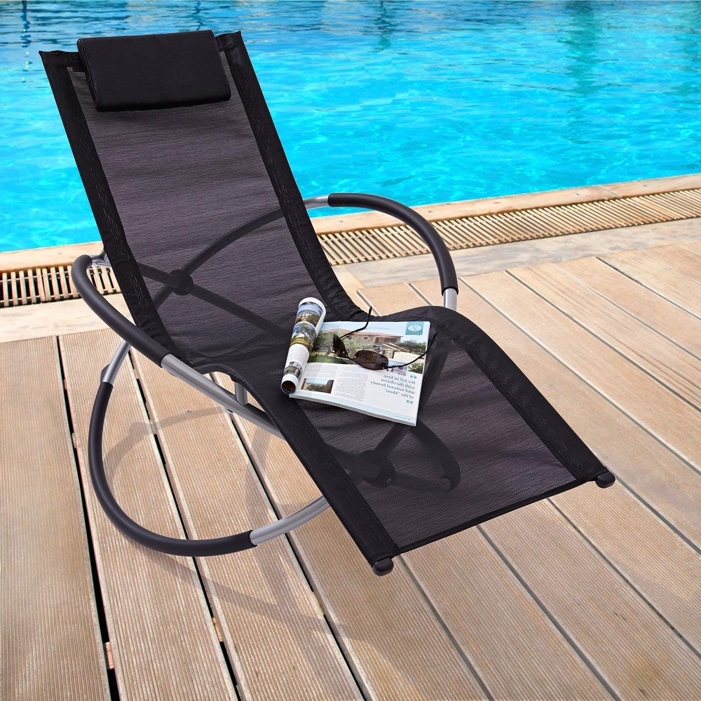 Current Zen Rocking Chairs Within Zen' Black Folding Garden Sun Lounger Rocking Chair (View 4 of 15)