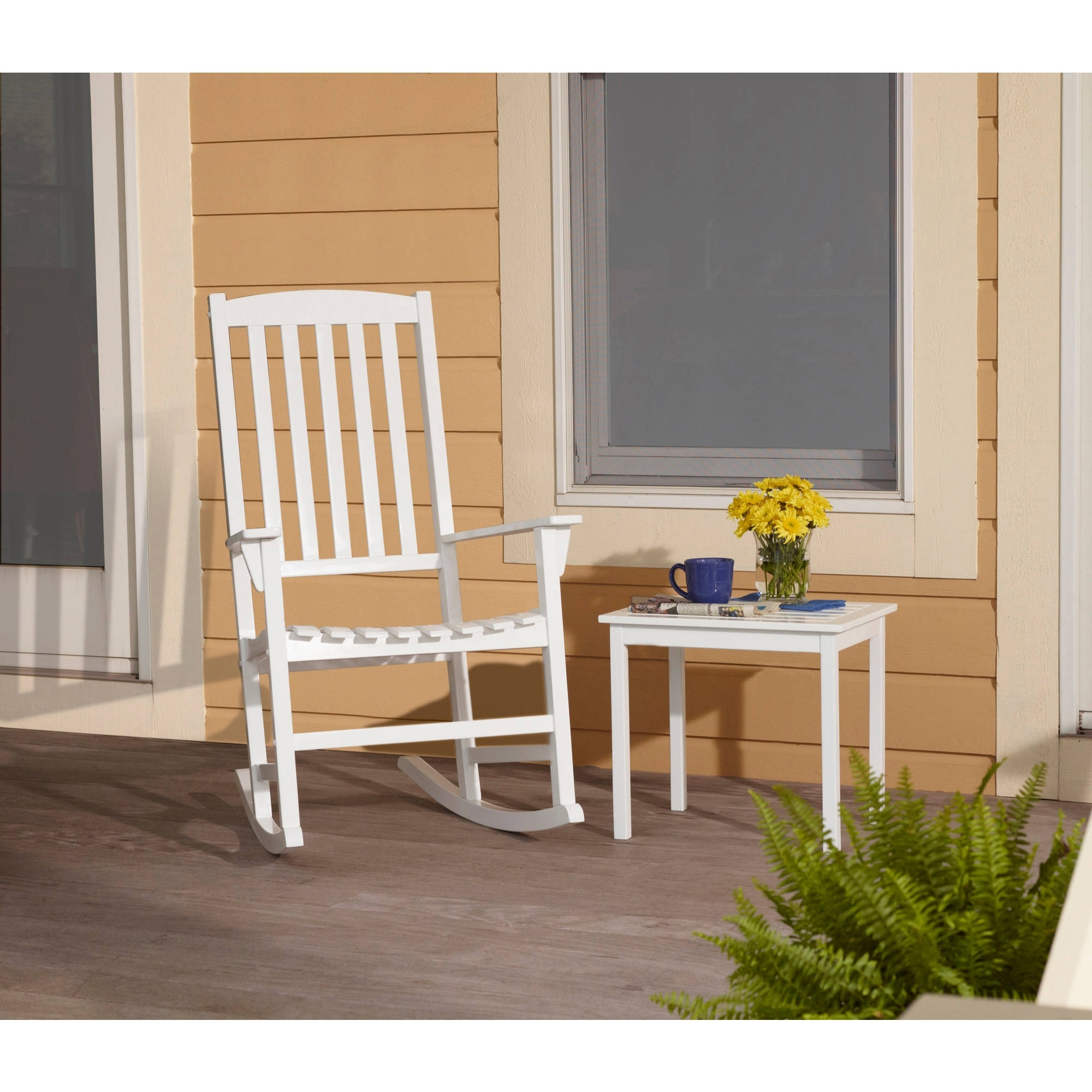 Famous Mainstays Outdoor Rocking Chair, White – Walmart With Regard To Outdoor Rocking Chairs With Table (View 10 of 15)