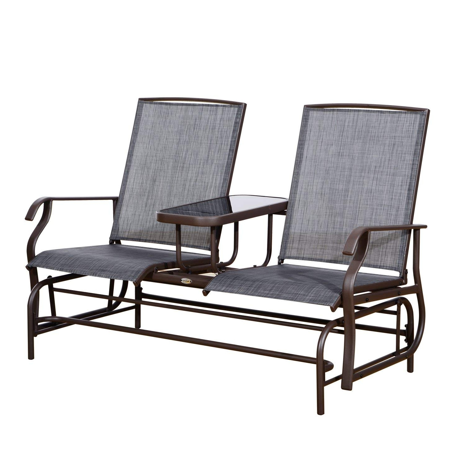 Famous Patio Furniture Rocking Benches Intended For Amazon : Outsunny 2 Person Outdoor Mesh Fabric Patio Double (View 4 of 15)