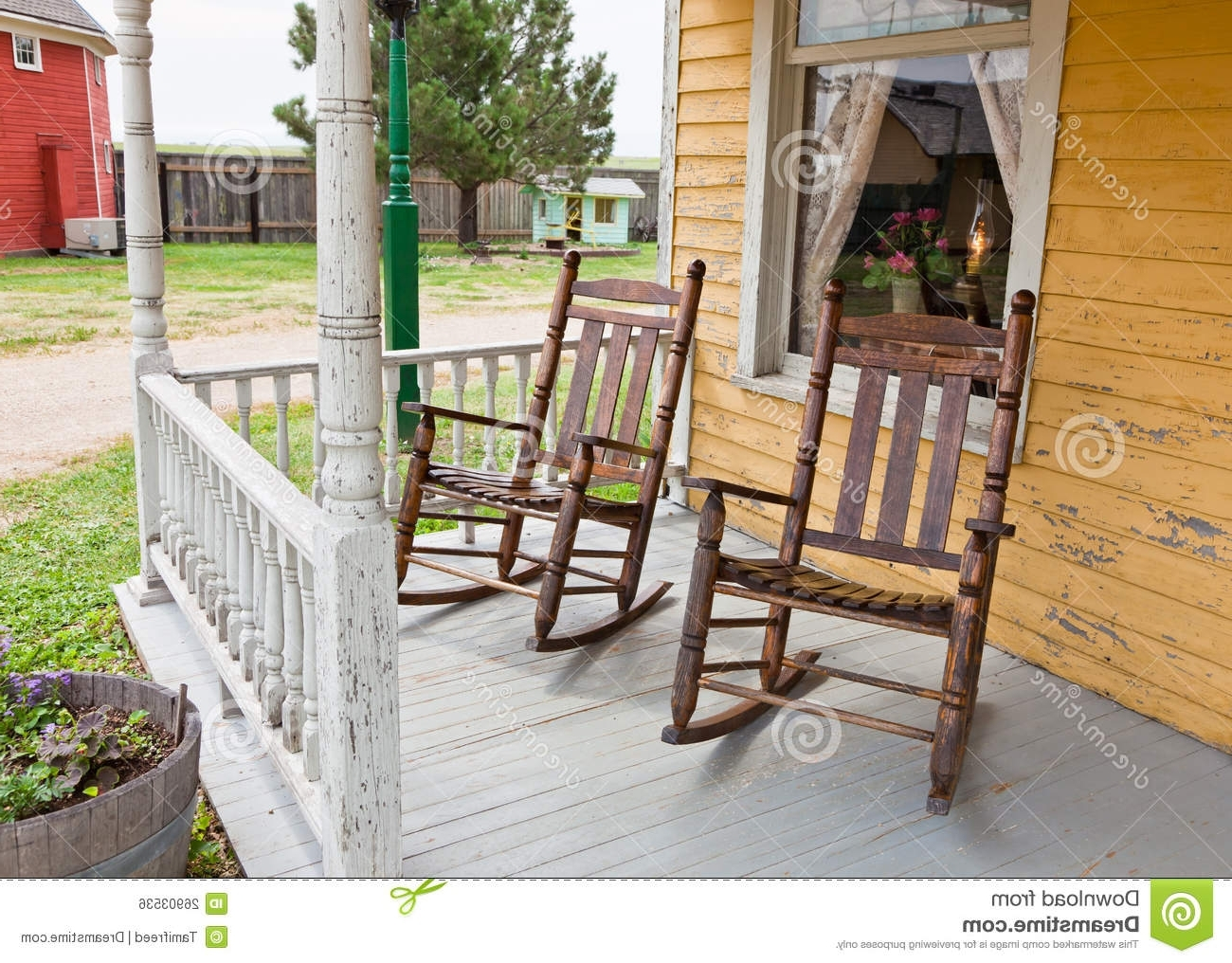 Famous Rocking Chairs For Front Porch With Regard To Front Porch Rocking Chairs Stock Photo (View 2 of 15)