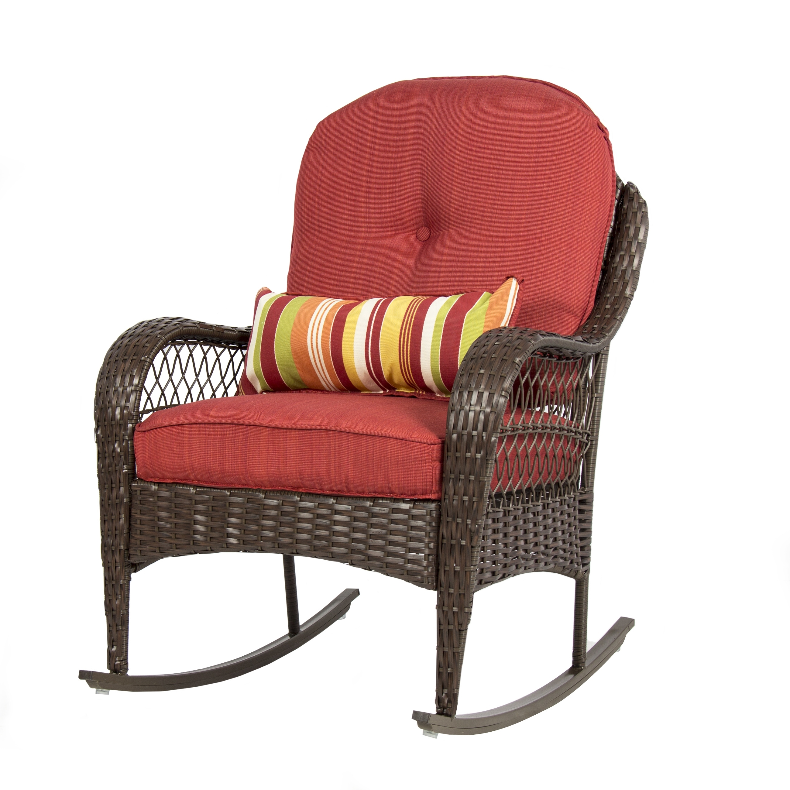 Fashionable Bestchoiceproducts: Best Choice Products Wicker Rocking Chair Patio In Padded Patio Rocking Chairs (View 3 of 15)