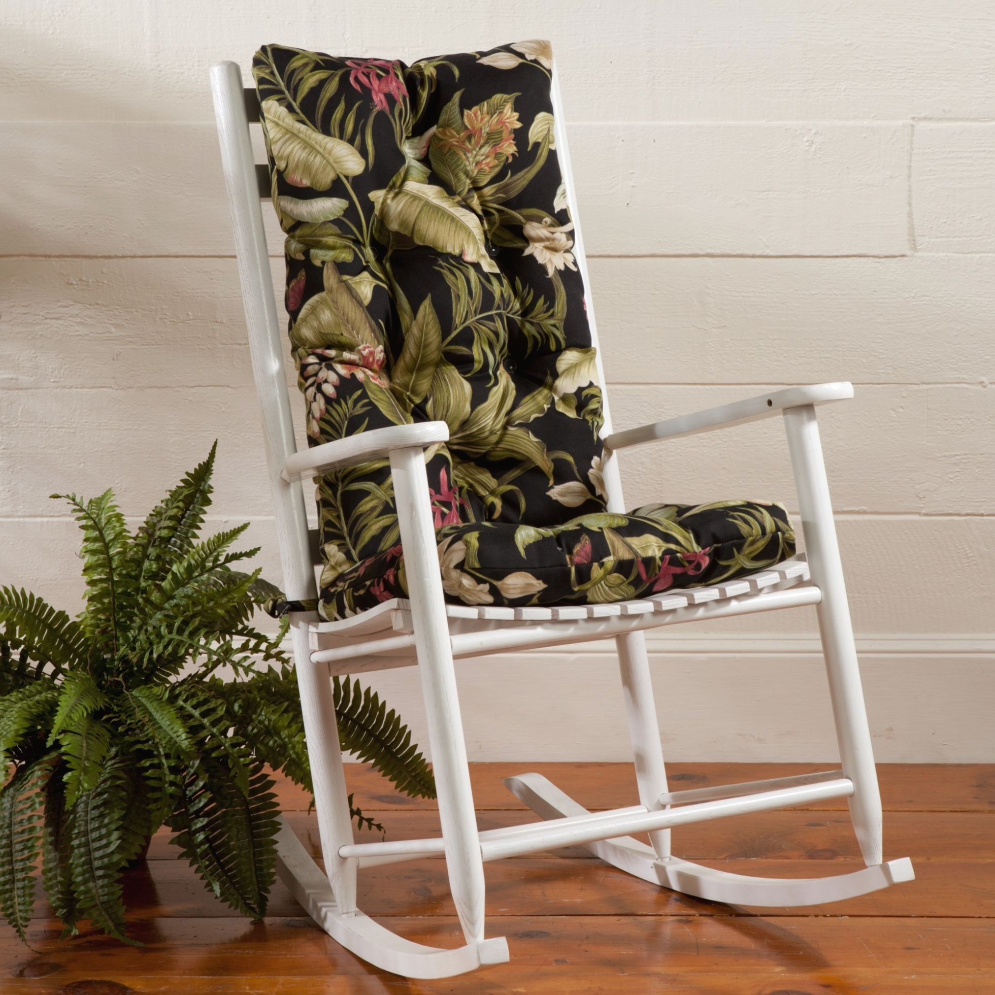 Fashionable Furniture: White Wooden Indoor Rocking Chairs With Green Leaves Intended For Outdoor Rocking Chairs With Cushions (View 6 of 15)