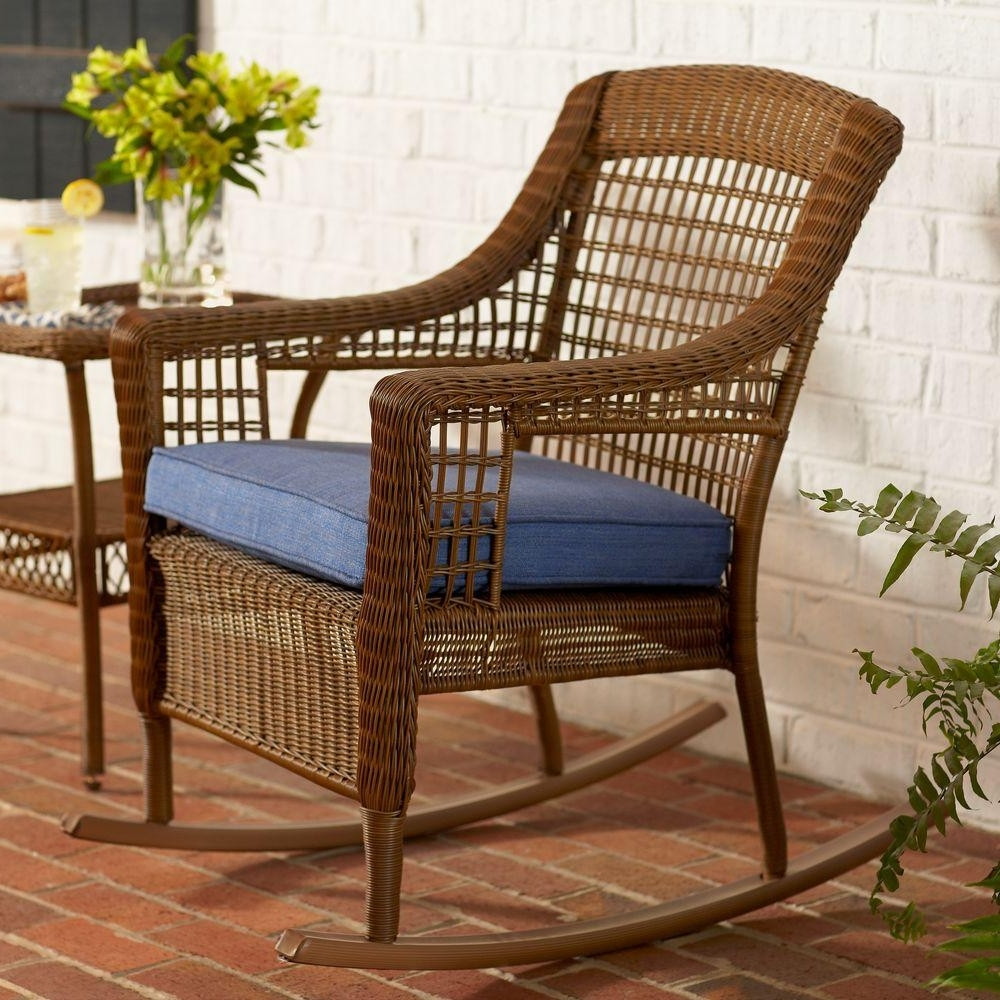 Fashionable Hampton Bay Spring Haven Brown All Weather Wicker Outdoor Patio Pertaining To Wicker Rocking Chairs With Cushions (View 3 of 15)