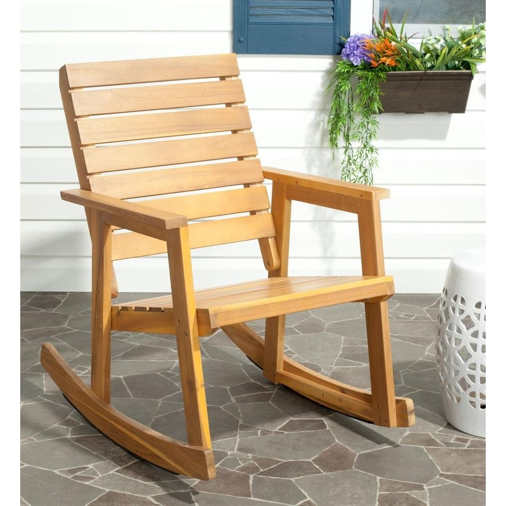 Fashionable Safavieh Alexei Natural Brown Acacia Wood Patio Rocking Chair Inside Yellow Outdoor Rocking Chairs (View 4 of 15)