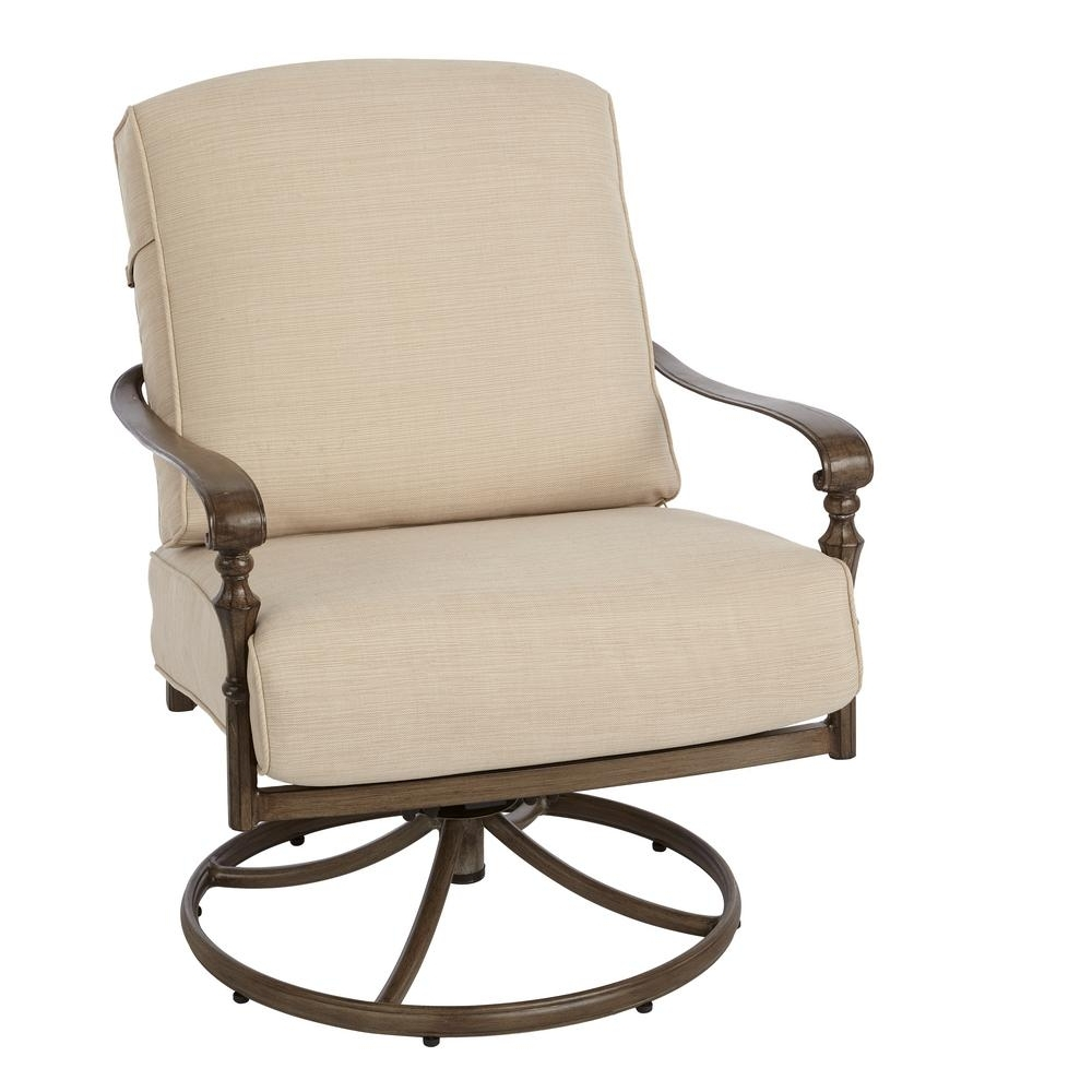 Favorite Hampton Bay Rocking Patio Chairs For Hampton Bay Cavasso Swivel Rocking Metal Outdoor Lounge Chair With (View 6 of 15)