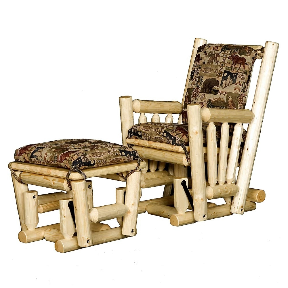 Favorite Log Glider Rocking Chair And Ottoman: Cabin Place Within Rocking Chairs With Ottoman (View 6 of 15)