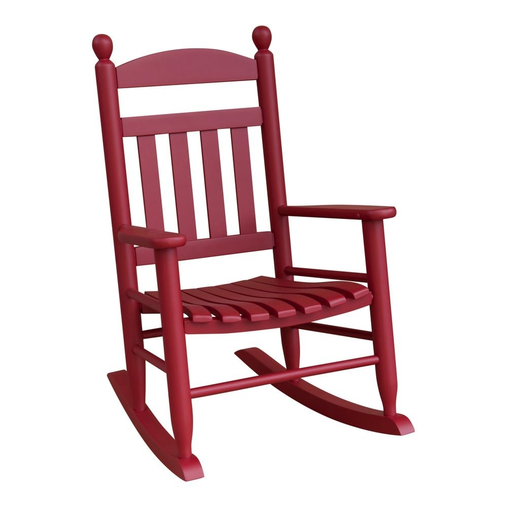 Favorite Small Patio Rocking Chairs Within Youth Slat Red Patio Rocking Chair 201Sef Rta The Home Depot Small (View 5 of 15)