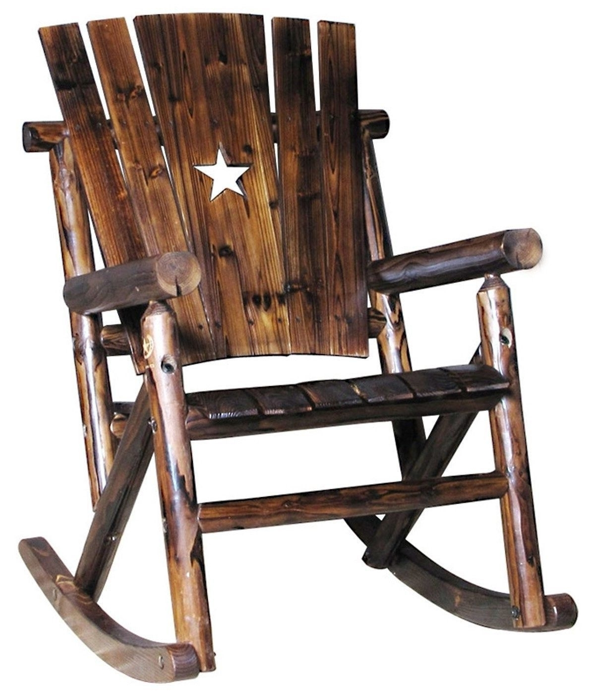 Favorite Solid Pine Fir Wood Single Rocker Rocking Chair W Star Outdoor Inside Char Log Patio Rocking Chairs With Star (View 5 of 15)