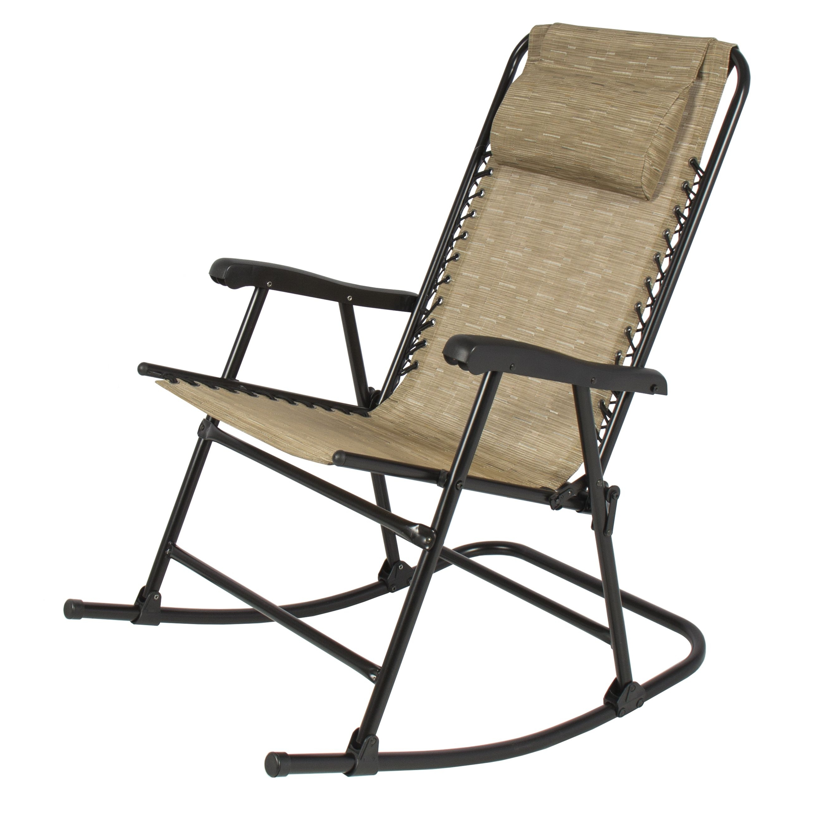 Folding Rocking Chair Foldable Rocker Outdoor Patio Furniture Beige Throughout Fashionable Rocking Chairs For Patio (View 5 of 15)