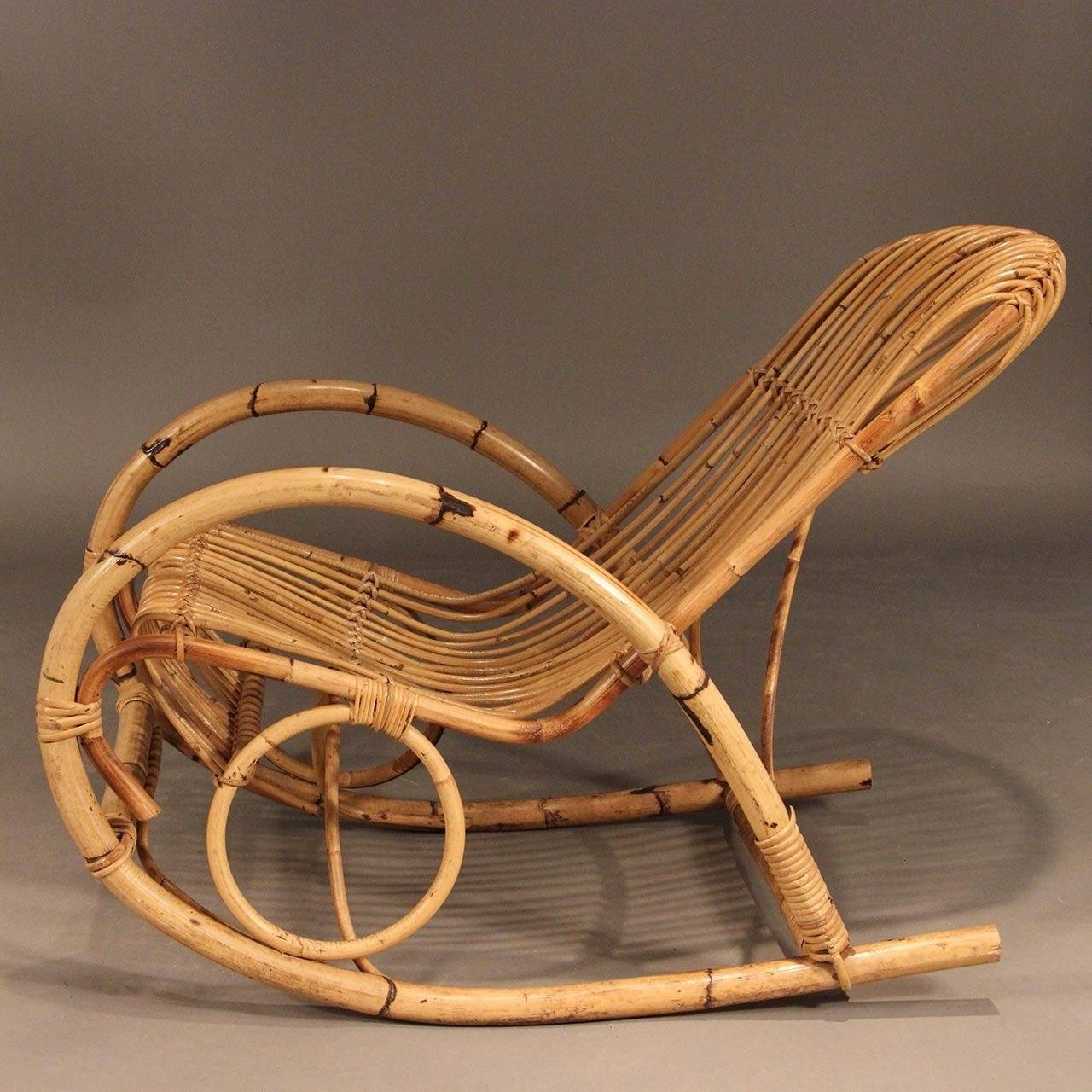 Franco Albini Style Mid Century Rattan Rocking Chair For Sale At 1Stdibs In Preferred Antique Wicker Rocking Chairs (View 8 of 15)