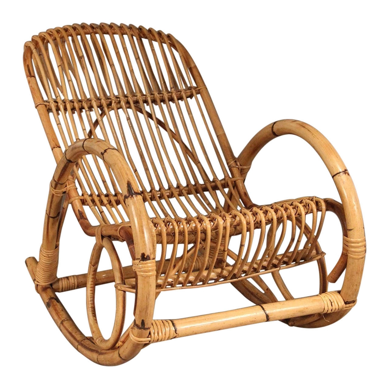 Franco Albini Style Mid Century Rattan Rocking Chair For Sale At 1Stdibs Inside Latest Wicker Rocking Chair With Magazine Holder (View 2 of 15)