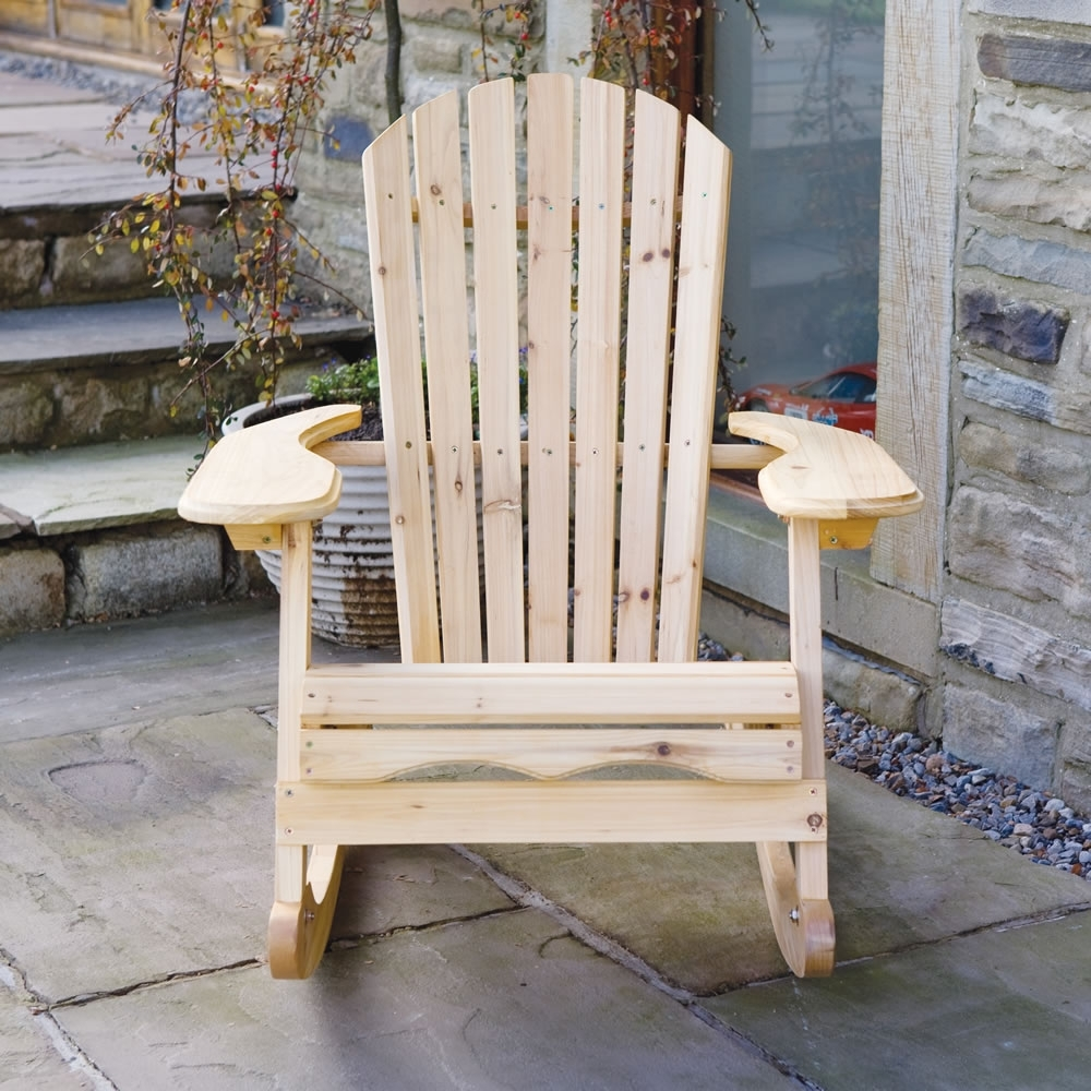 Garden Patio Wooden Adirondack Rocking Chair For Favorite Patio Wooden Rocking Chairs (View 6 of 15)