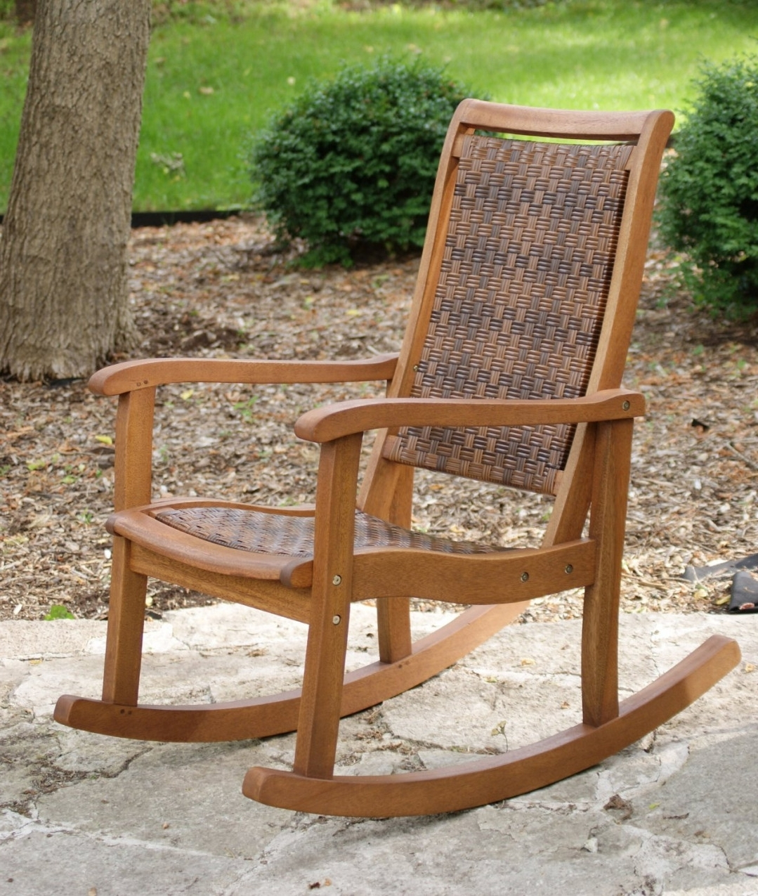 Great Patio Rocking Chairs : Spectacular And Sensational Patio Regarding Fashionable Wooden Patio Rocking Chairs (View 4 of 15)