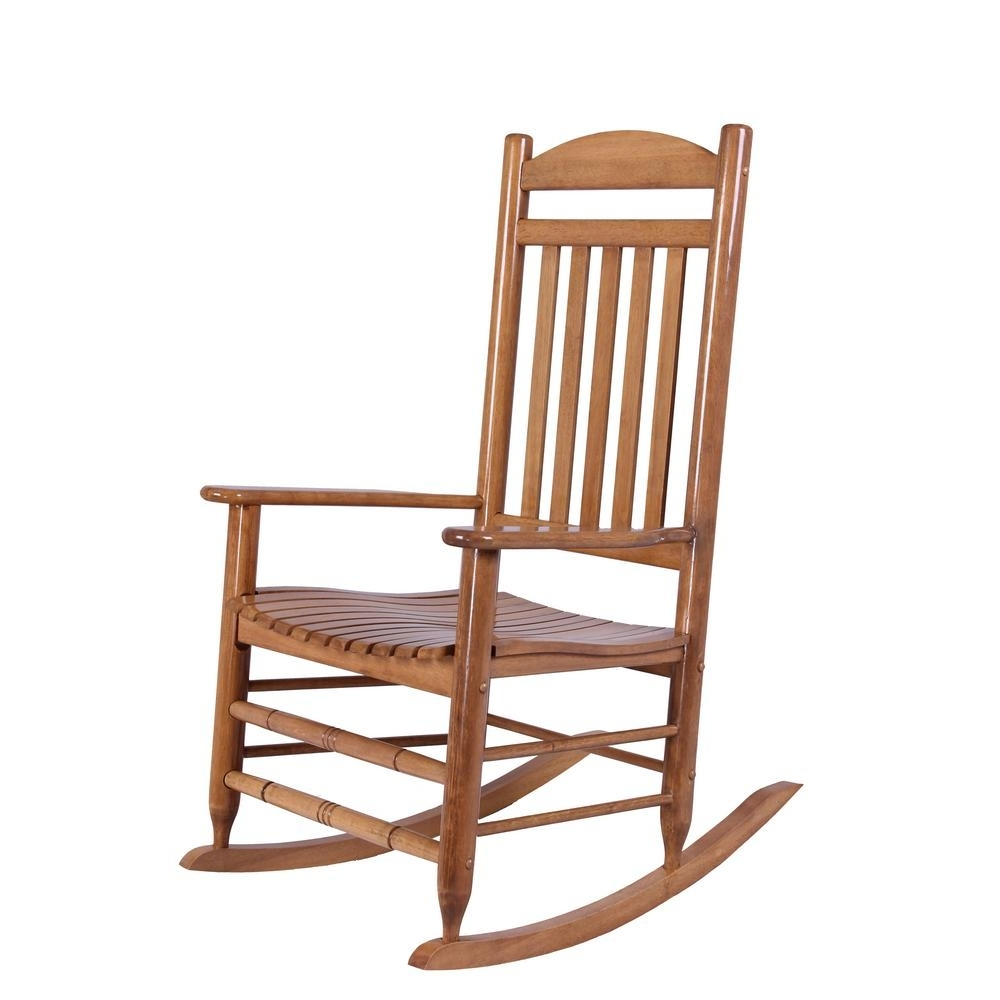 Hampton Bay Natural Wood Rocking Chair It 130828N – The Home Depot For Favorite Rocking Chairs (View 2 of 15)