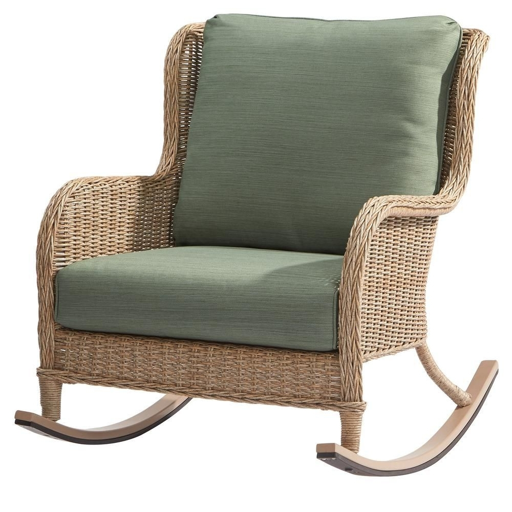 Hampton Bay Rocking Patio Chairs For Fashionable Hampton Bay Lemon Grove Wicker Outdoor Rocking Chair With Surplus (Gallery 13 of 15)