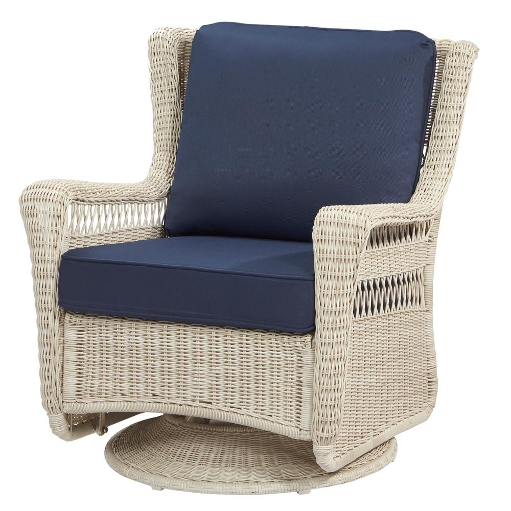 Hampton Bay Rocking Patio Chairs Pertaining To Most Popular Hampton Bay Park Meadows Off White Swivel Rocking Wicker Outdoor (View 11 of 15)