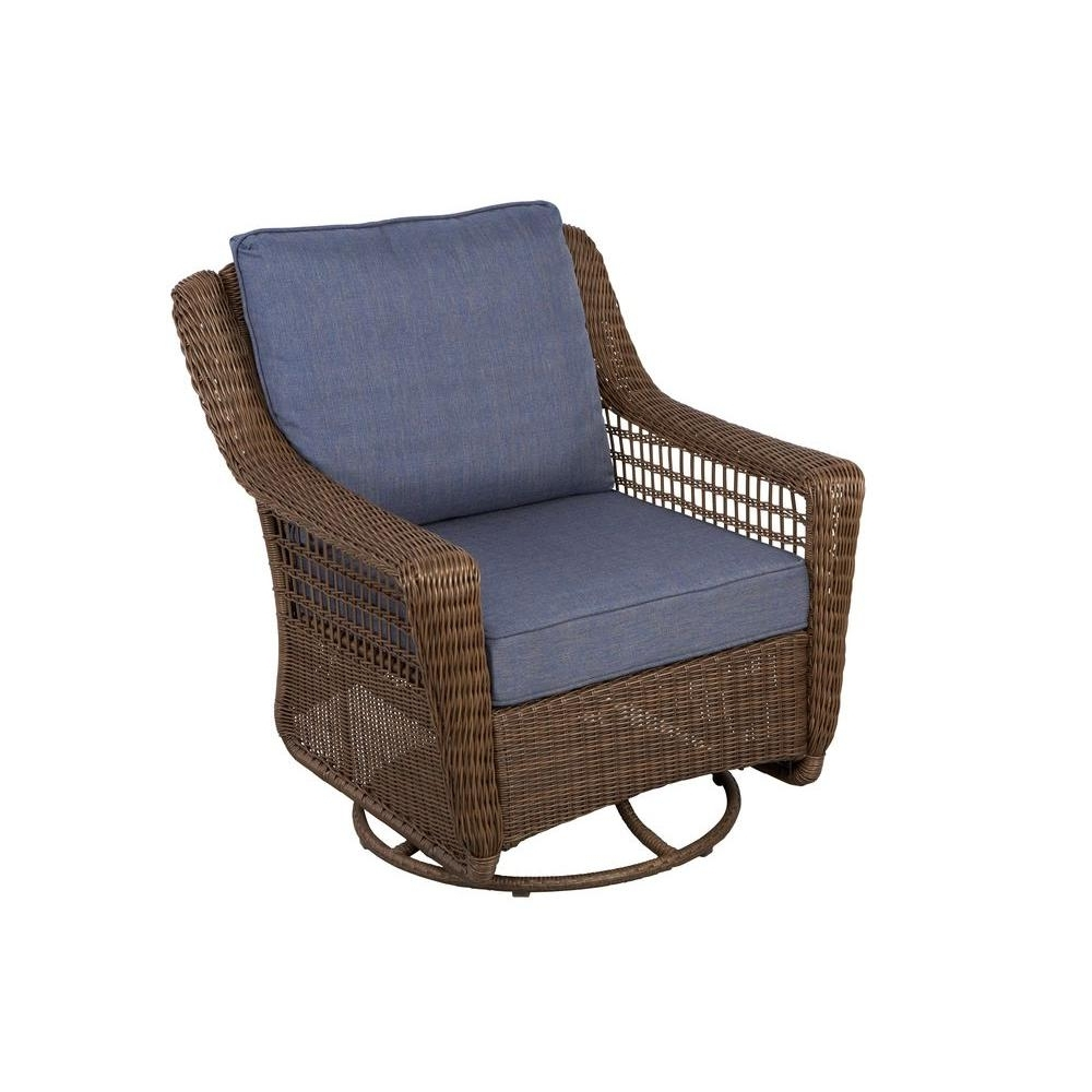 Hampton Bay Spring Haven Brown All Weather Wicker Outdoor Patio Inside Popular Outdoor Wicker Rocking Chairs With Cushions (Gallery 10 of 15)