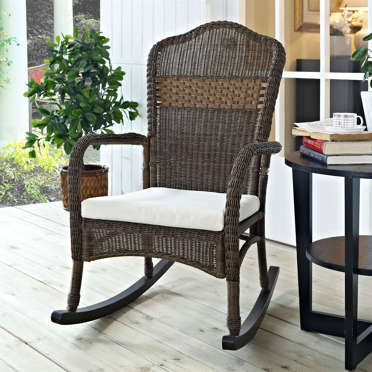 Indoor/outdoor Patio Porch Mocha Wicker Rocking Chair With Beige Within Favorite Indoor Wicker Rocking Chairs (View 7 of 15)
