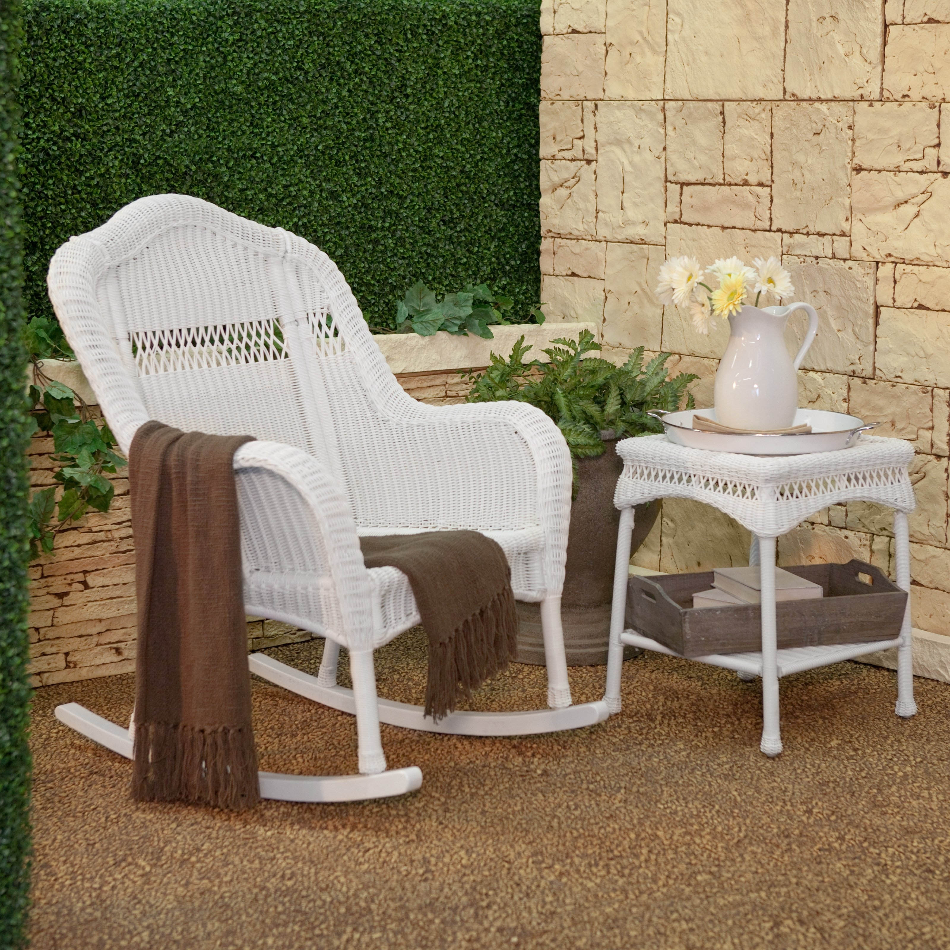 Inexpensive Patio Rocking Chairs In Most Recent White Resin Wicker Rocker Out Of Box Communication Rocking Chair (View 5 of 15)
