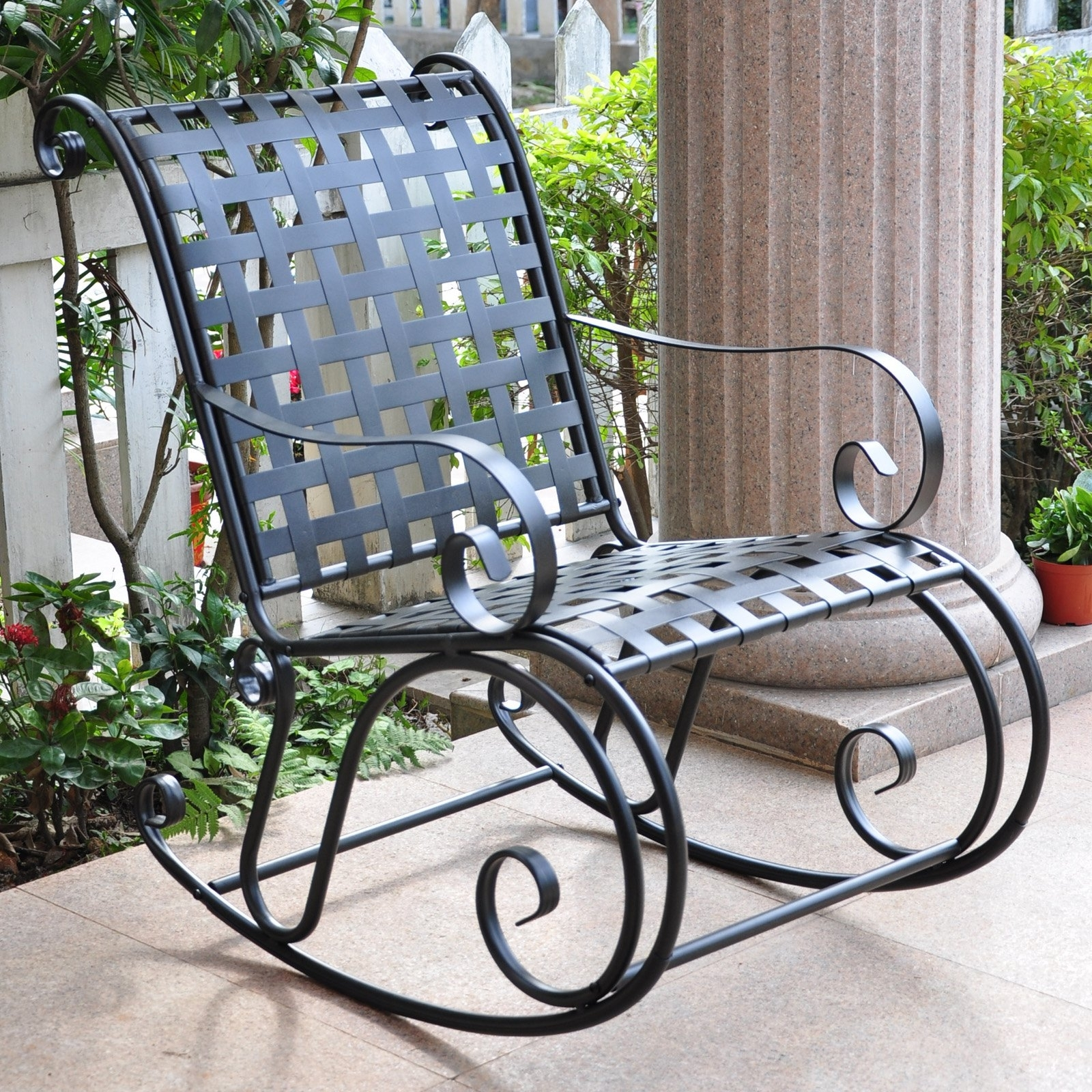 Iron Rocking Patio Chairs In Most Popular Wrought Iron Rocking Chair Patio Furniture Designs Outdoor Chairs (View 5 of 15)