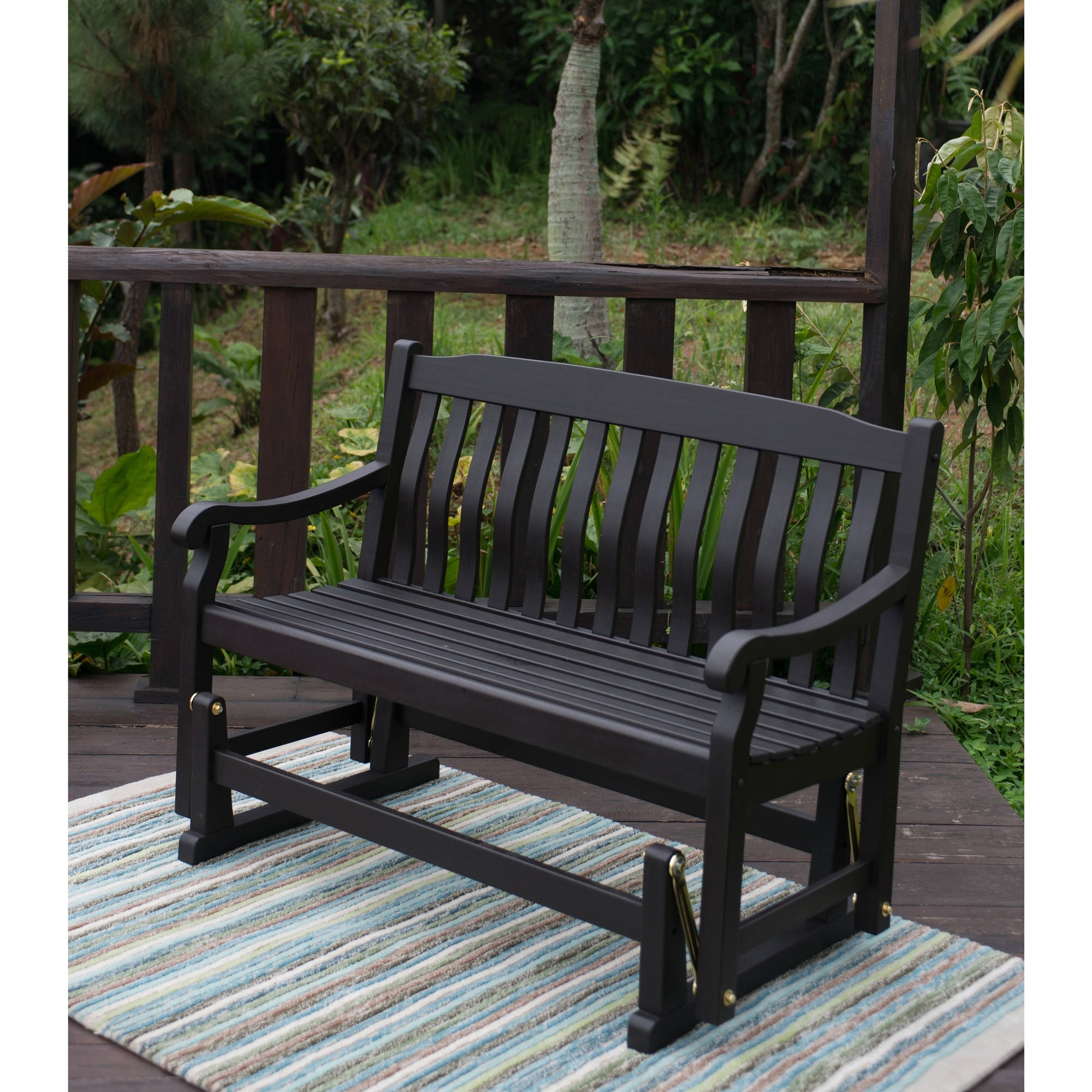 Latest Better Homes & Gardens Delahey Outdoor Glider Bench, Dark Brown For Patio Furniture Rocking Benches (View 5 of 15)