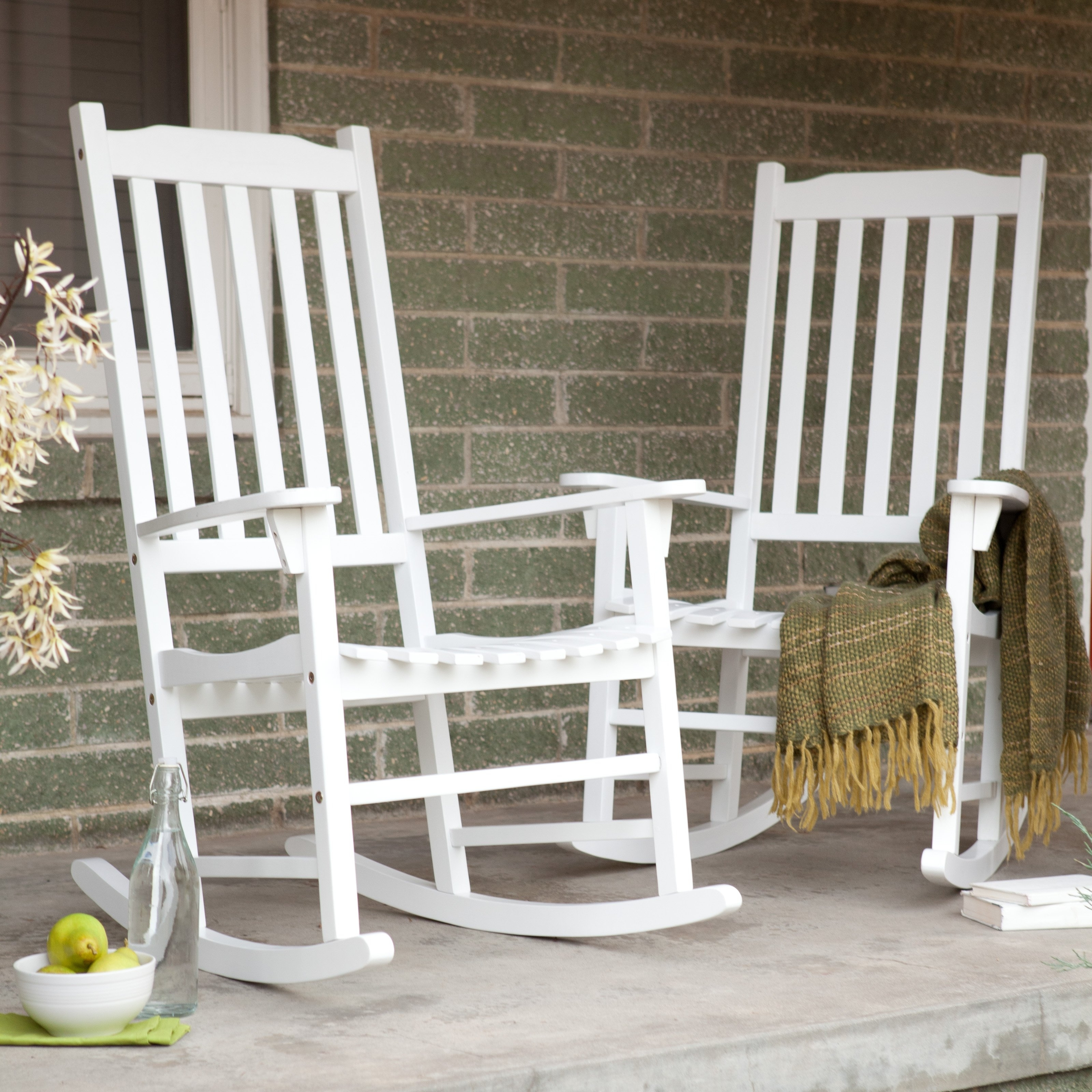 Latest Coral Coast Indoor/outdoor Mission Slat Rocking Chairs – White – Set Regarding Outside Rocking Chair Sets (View 4 of 15)