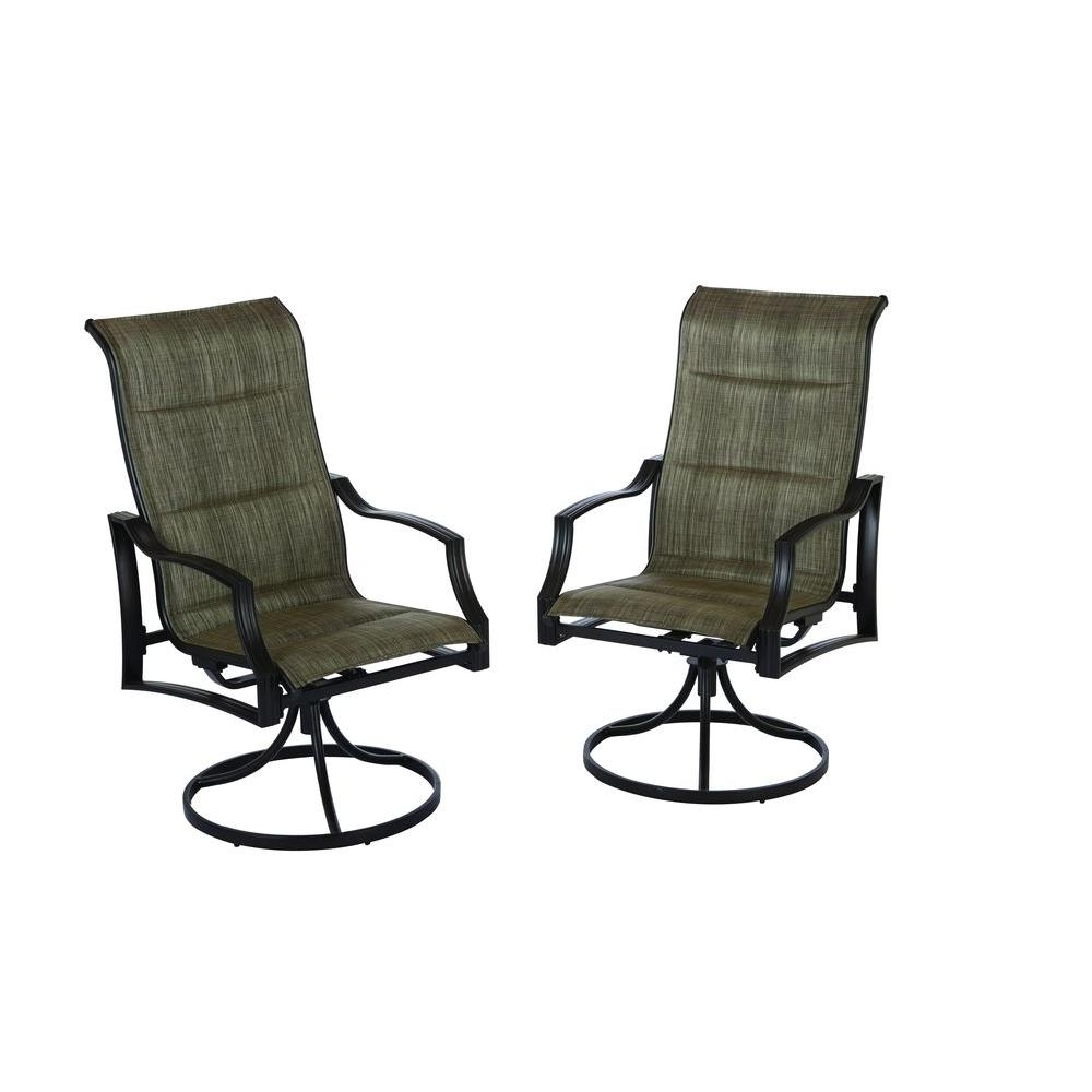 Latest Hampton Bay Statesville Padded Sling Swivel Patio Dining Chair (2 Throughout Padded Patio Rocking Chairs (View 8 of 15)