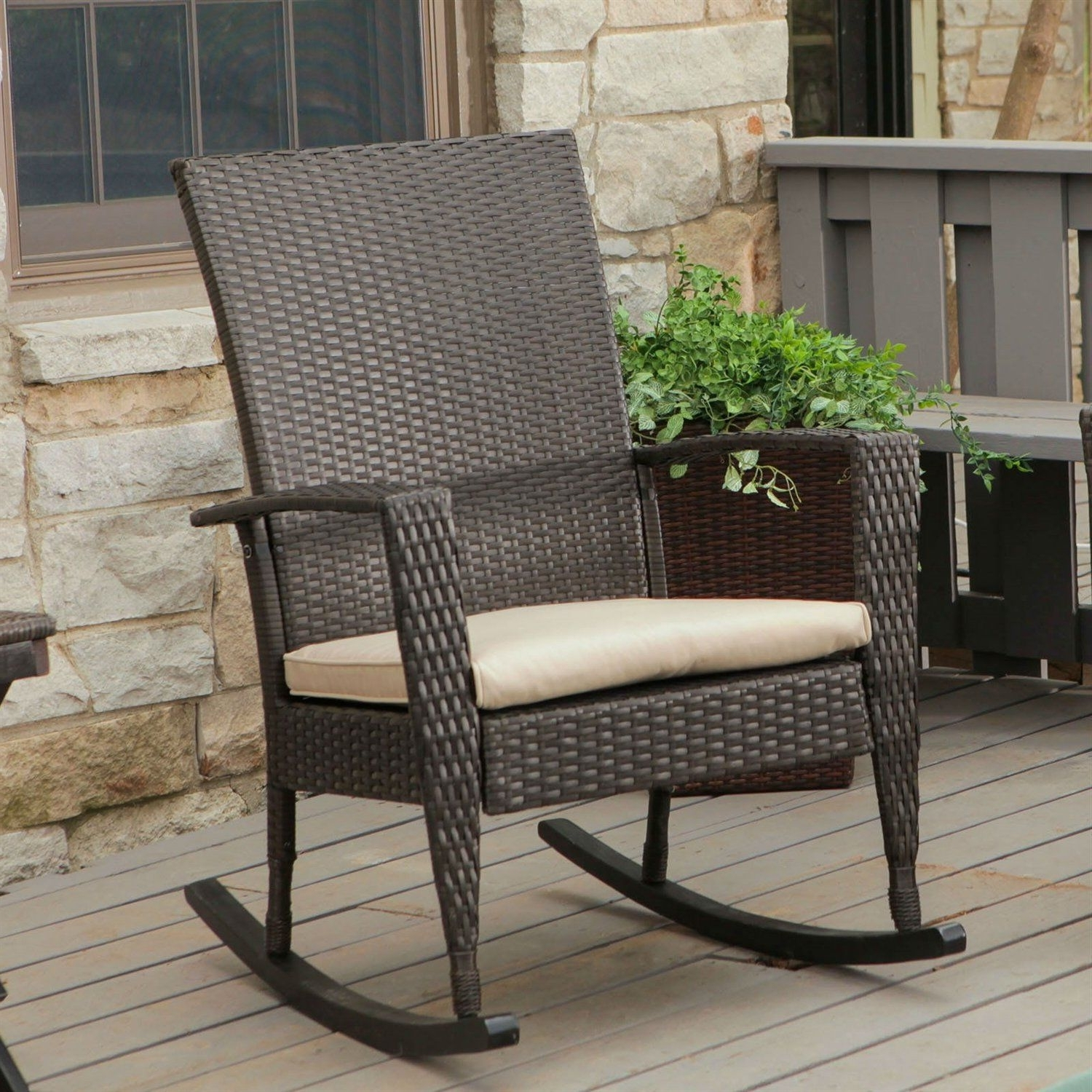 Latest Indoor Wicker Rocking Chairs Pertaining To Indoor/outdoor Patio Porch Dark Brown High Back Wicker Rocking Chair (View 8 of 15)