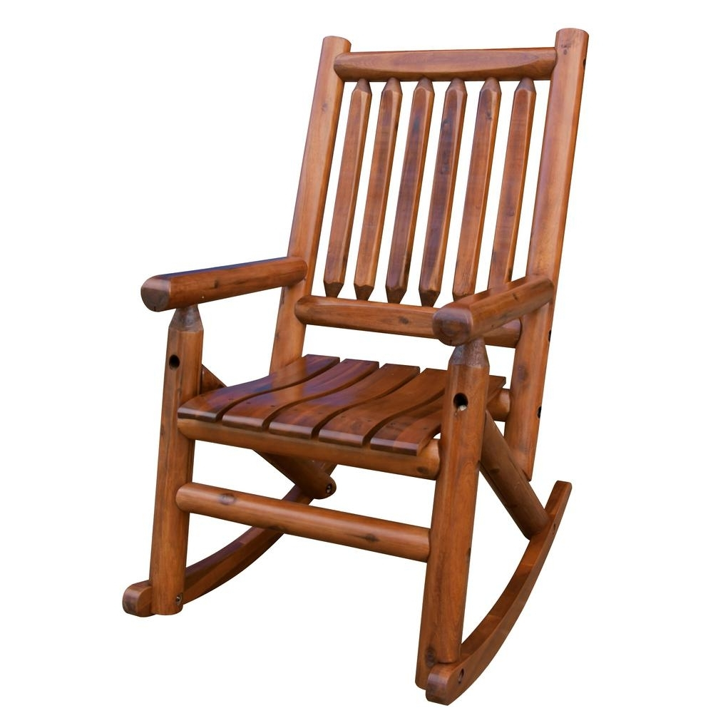 Leigh Country Amberlog Patio Rocking Chair Tx 36000 – The Home Depot In Most Up To Date Brown Patio Rocking Chairs (View 6 of 15)