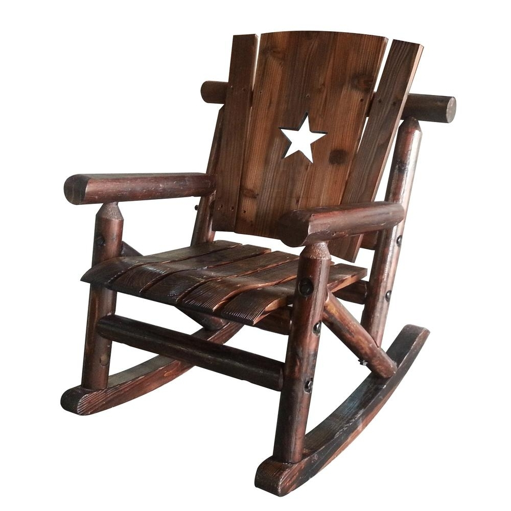 Leigh Country Char Log Wood Patio Children's Outdoor Rocking Chair Regarding Most Current Char Log Patio Rocking Chairs With Star (View 6 of 15)