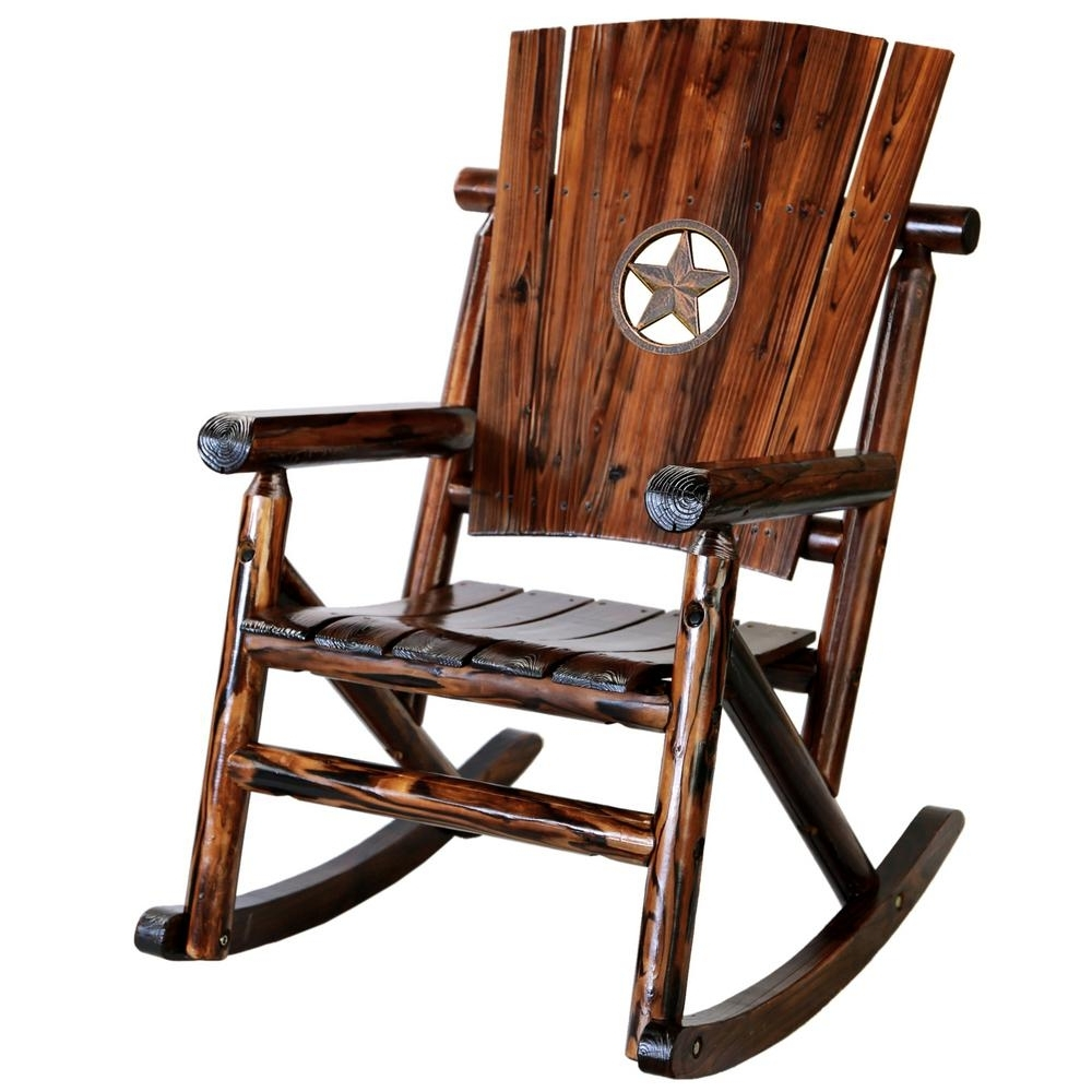 Leigh Country Char Log Wood Patio Rocking Chair With Star Medallion Inside Famous Char Log Patio Rocking Chairs With Star (View 3 of 15)