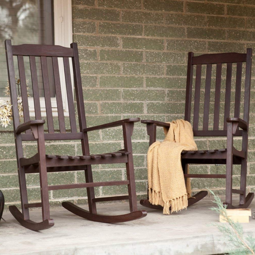 Most Current Amazon : Pair Of Coral Coast Indoor/outdoor Mission Slat Rocking Inside Outside Rocking Chair Sets (View 5 of 15)