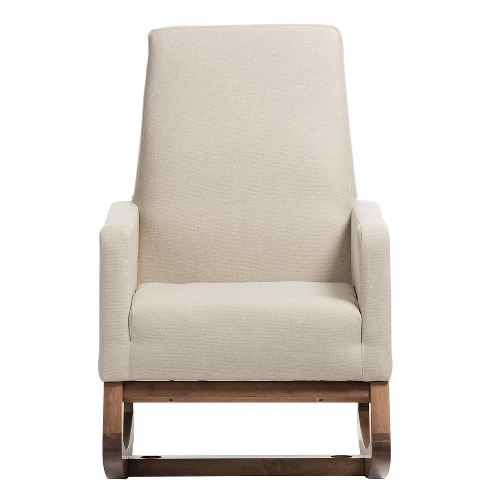 Most Current Baxton Studio Yashiya Mid Century Beige Fabric Upholstered Rocking Intended For Upholstered Rocking Chairs (View 9 of 15)
