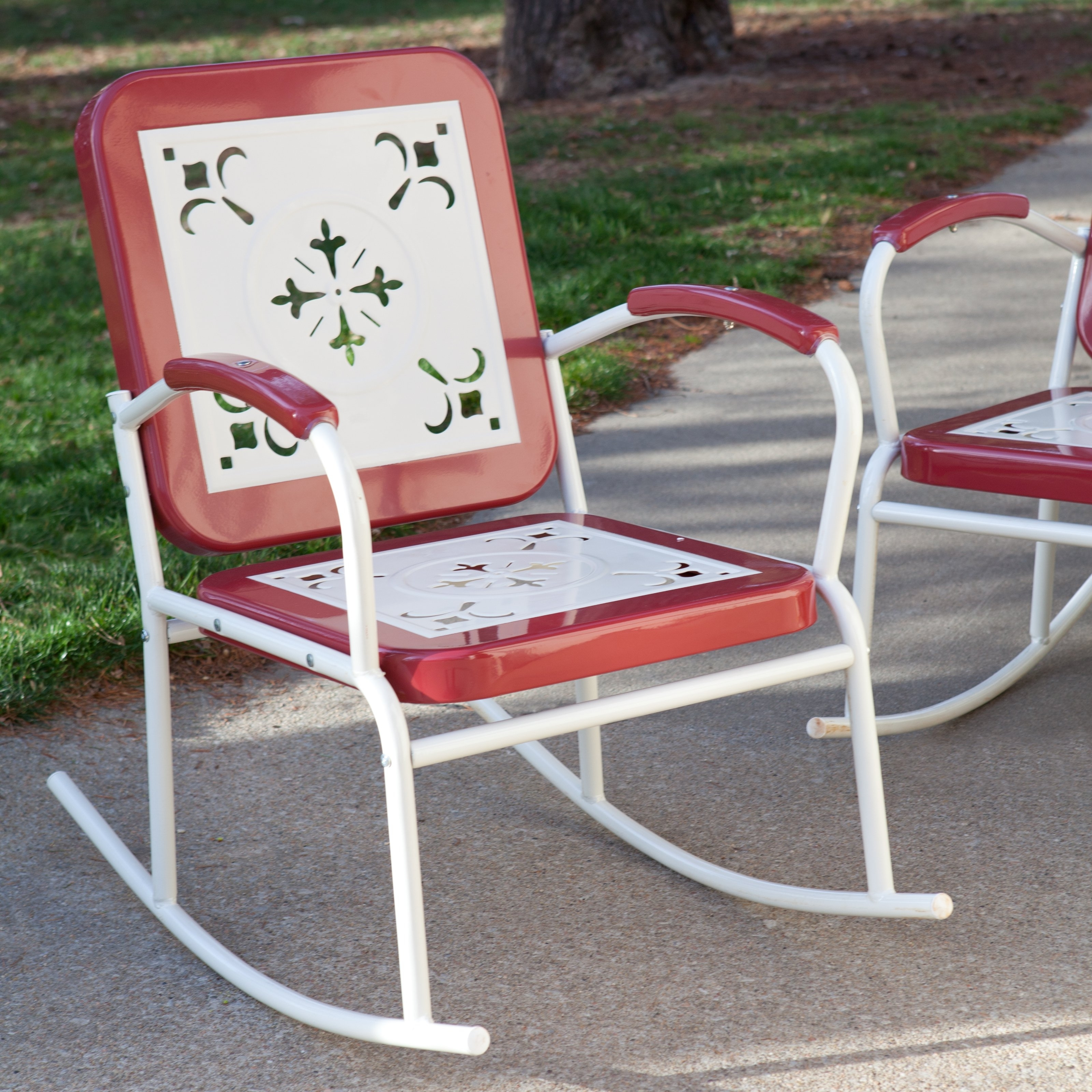Most Current Coral Coast Paradise Cove Retro Metal Rocking Chairs – Set Of 2 Pertaining To Retro Outdoor Rocking Chairs (View 2 of 15)