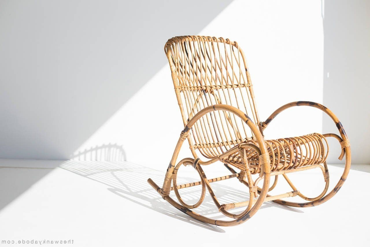 Most Current Franco Albini Style Wicker Rocking Chair And Magazine Rack Intended For Wicker Rocking Chair With Magazine Holder (View 2 of 15)