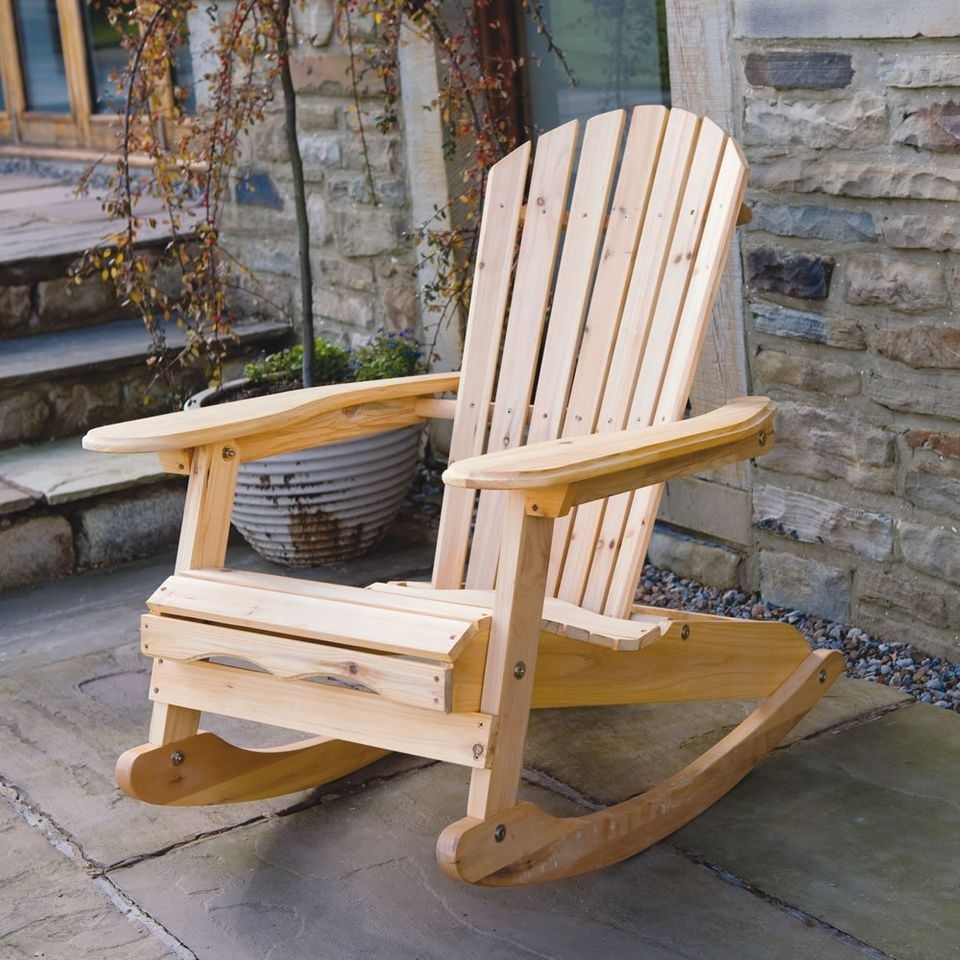Most Current Patio Furniture Rocking Benches Pertaining To Bowland Outdoor Garden Patio Wooden Adirondack Rocker Rocking Chair (View 6 of 15)