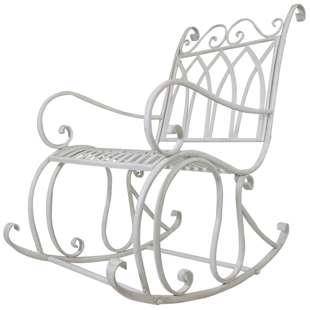Most Current Patio Metal Rocking Chairs Throughout Titan Outdoor Antique Rocking Chair White Porch Patio Garden Seat (View 3 of 15)