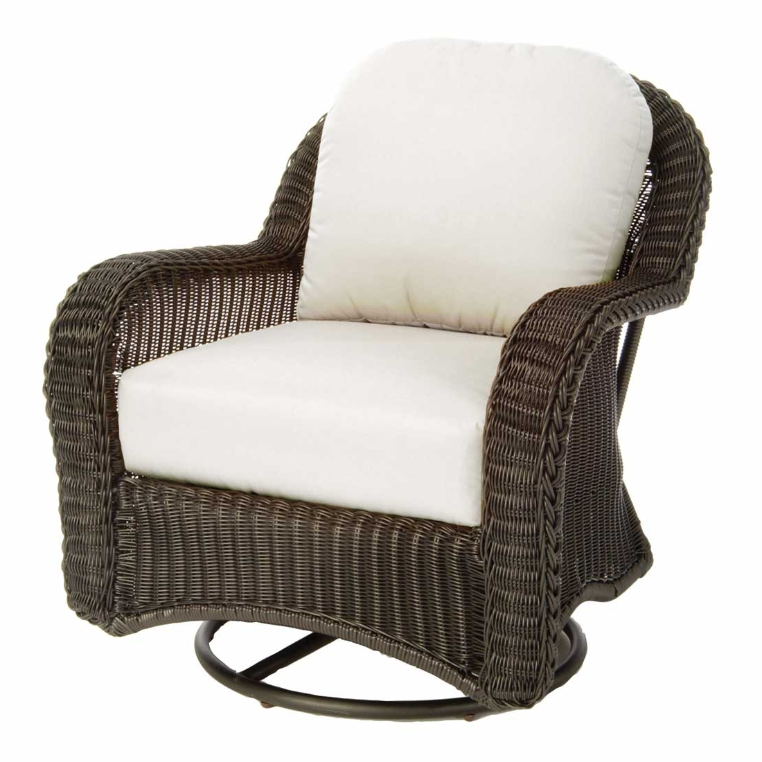 Most Current Patio Rocking Chairs And Gliders Regarding Classic Outdoor Wicker Swivel Glider (View 6 of 15)