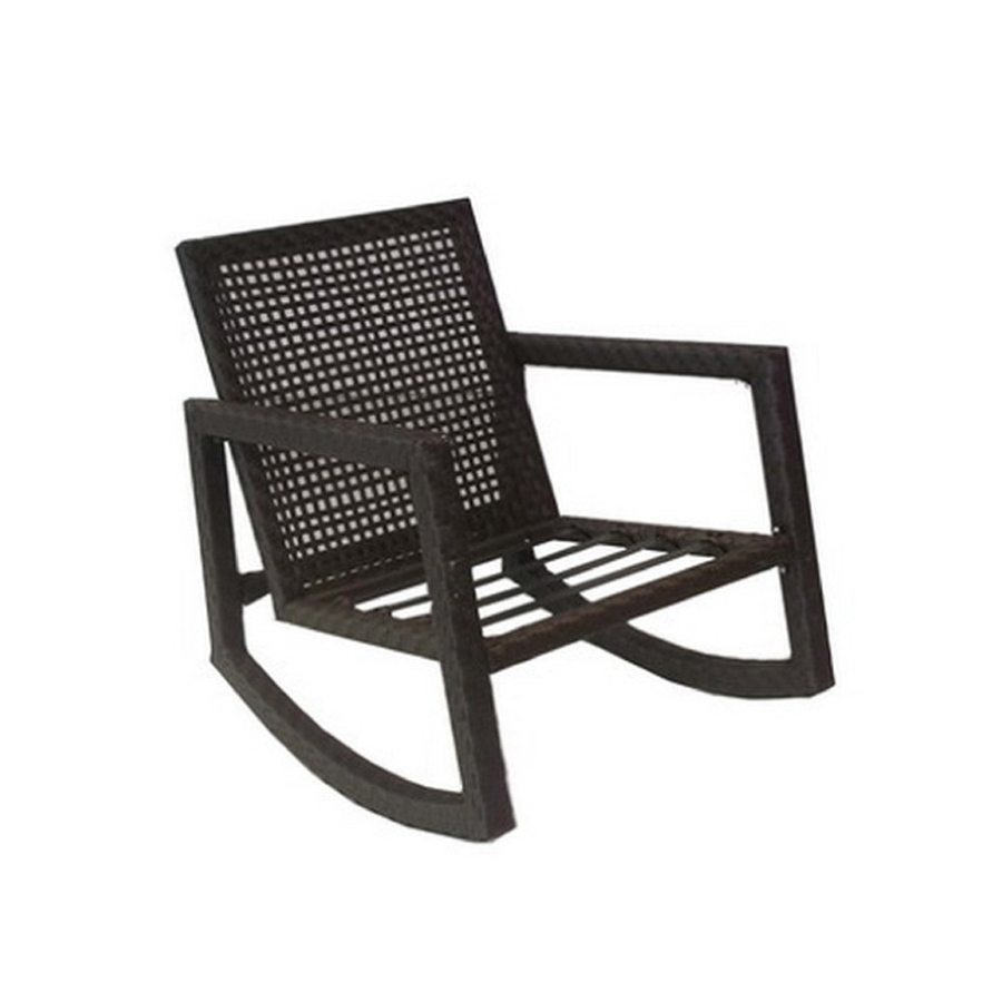 Most Current Shop Allen + Roth Lawley Textured Black Steel Strap Seat Patio For Black Patio Rocking Chairs (View 9 of 15)