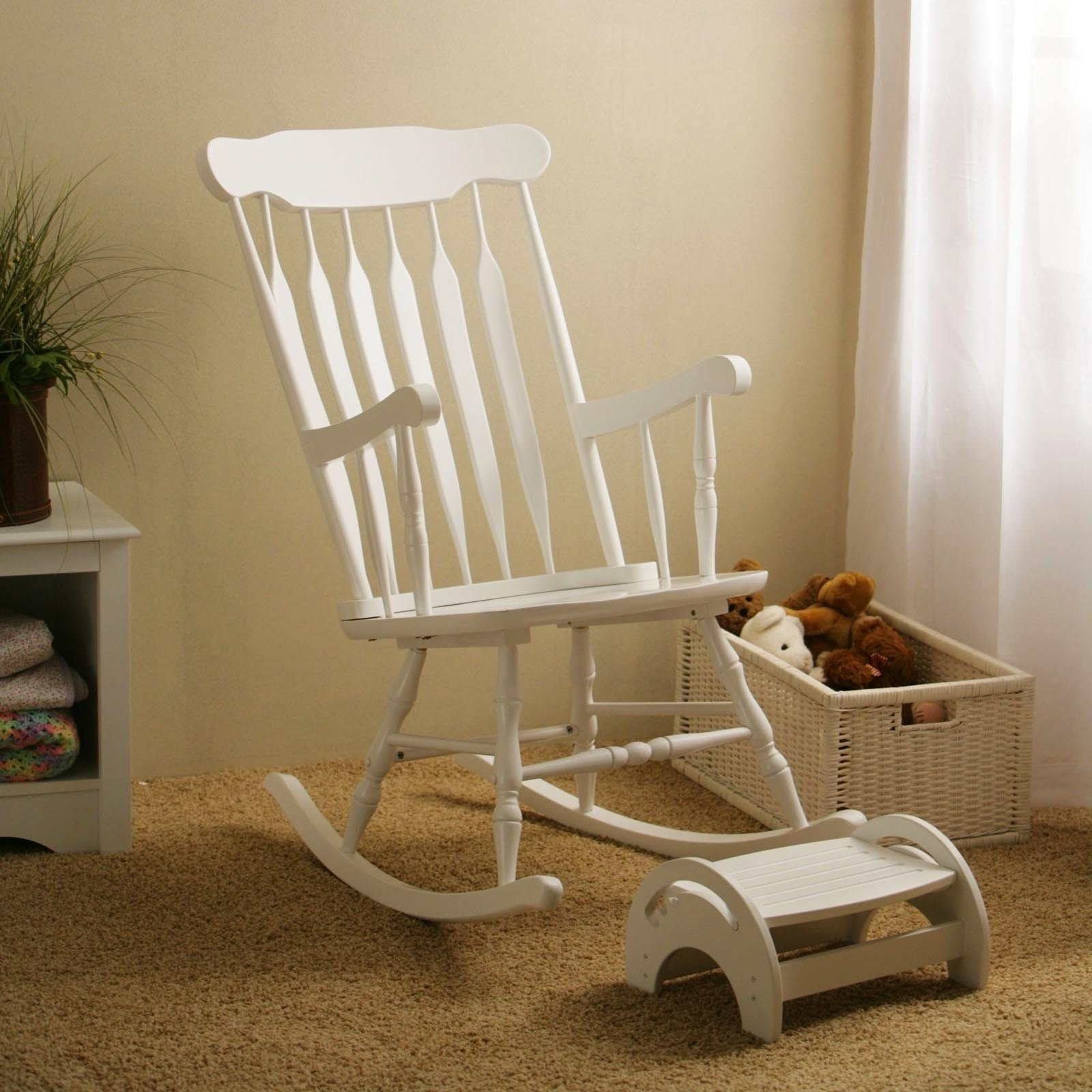 Most Current White Wicker Rocking Chair For Nursery For Wooden Nursing Rocking Chair — Wilson Home Ideas : Making Nursing (View 7 of 15)